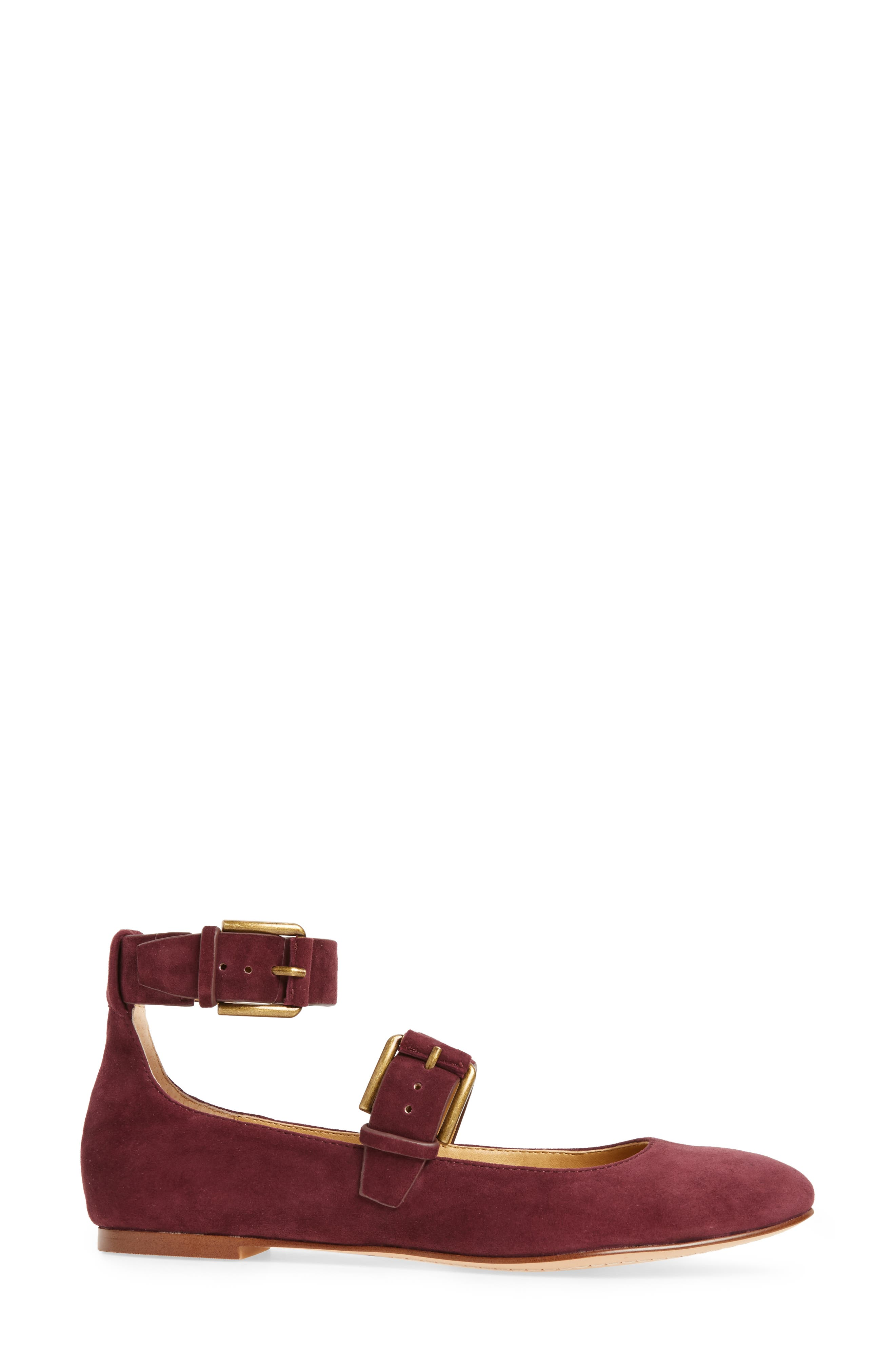 Dalenna Ankle Strap Ballet Flat,                             Alternate thumbnail 3, color,                             Wine Suede