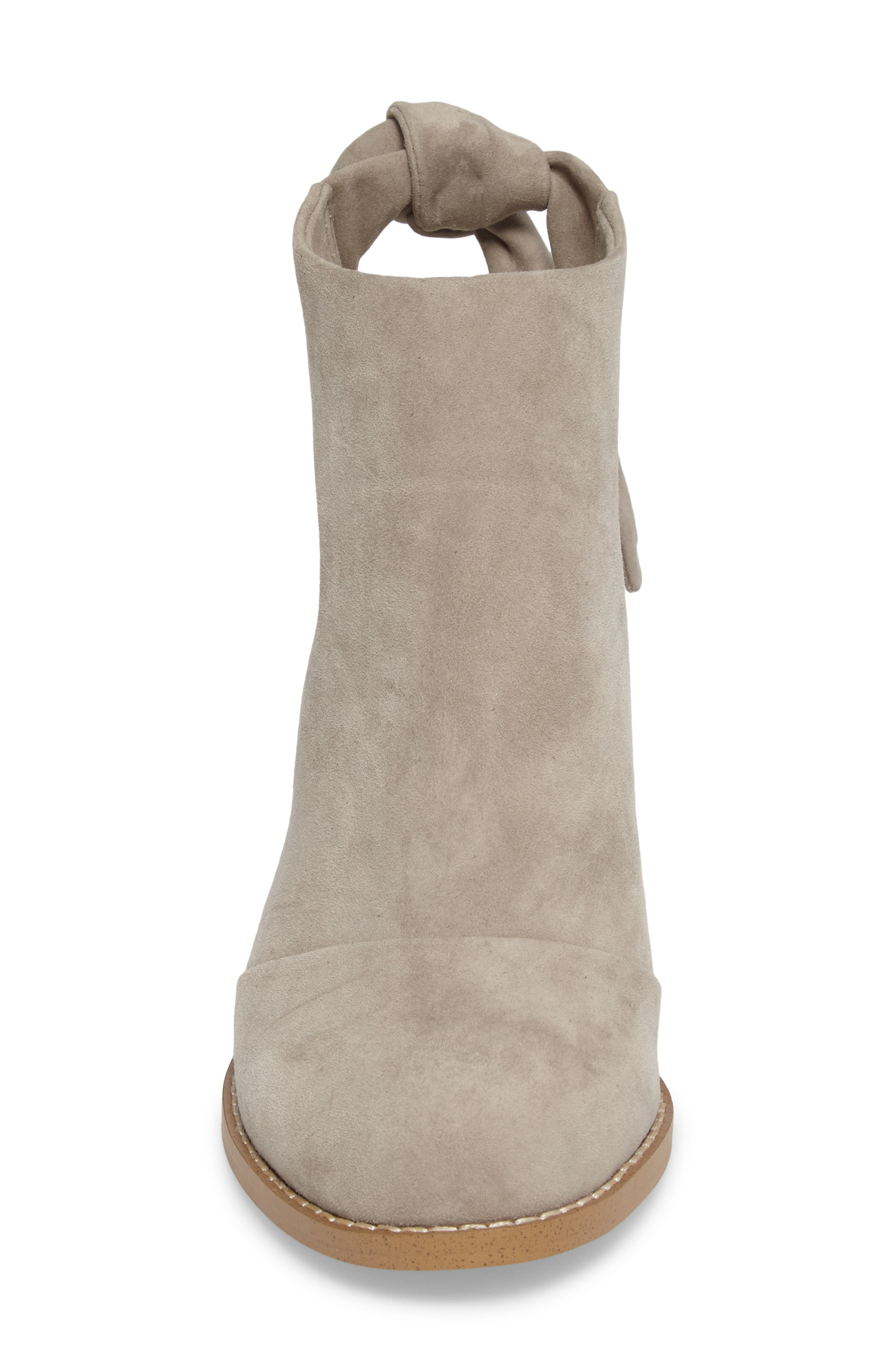 Danae Stacked Heel Bootie,                             Alternate thumbnail 5, color,                             Pearl Grey Suede