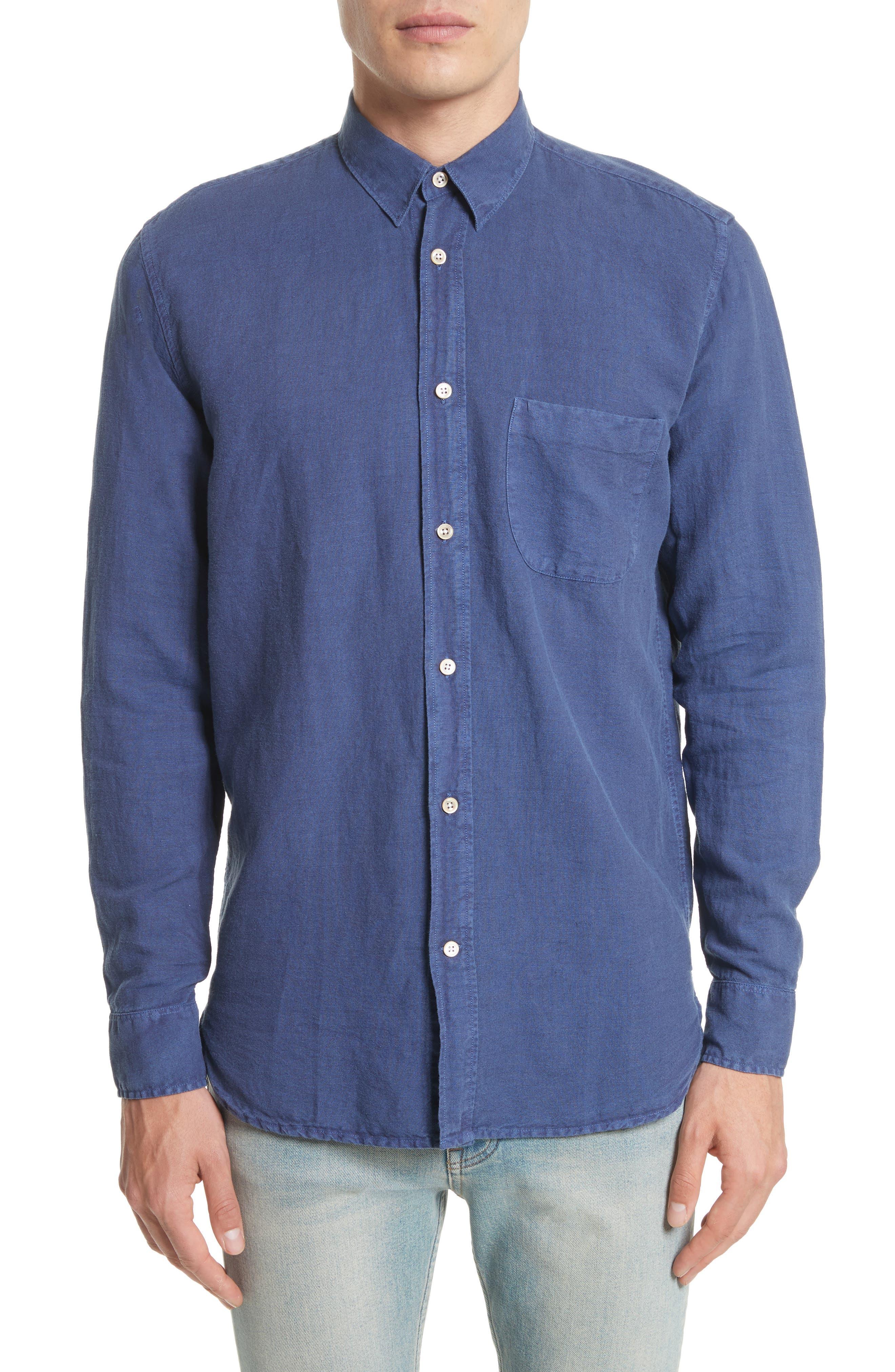 Generation Linen & Cotton Sport Shirt,                         Main,                         color, Polar Blue