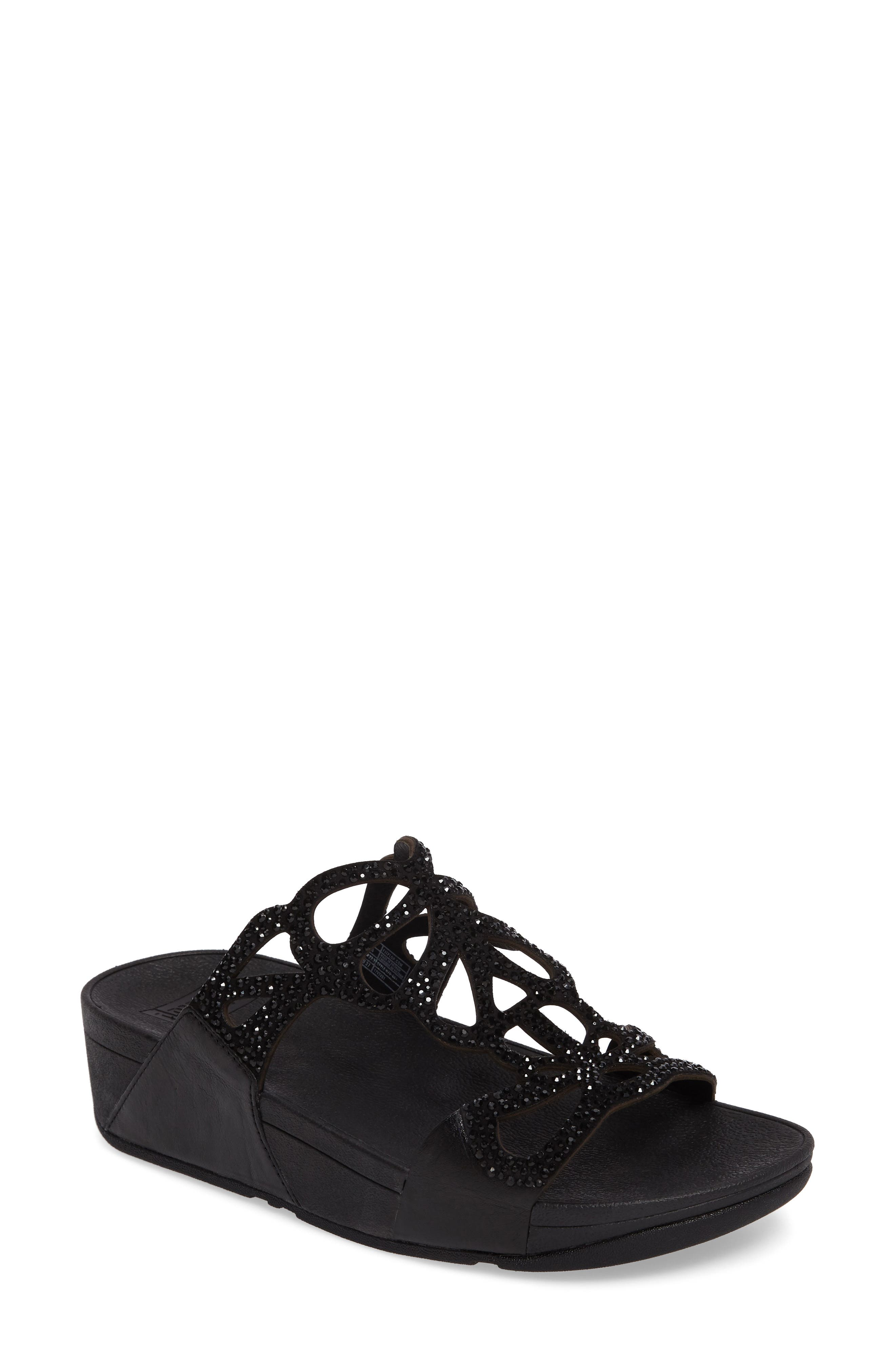 Bumble Wedge Slide Sandal,                             Main thumbnail 1, color,                             Black Leather