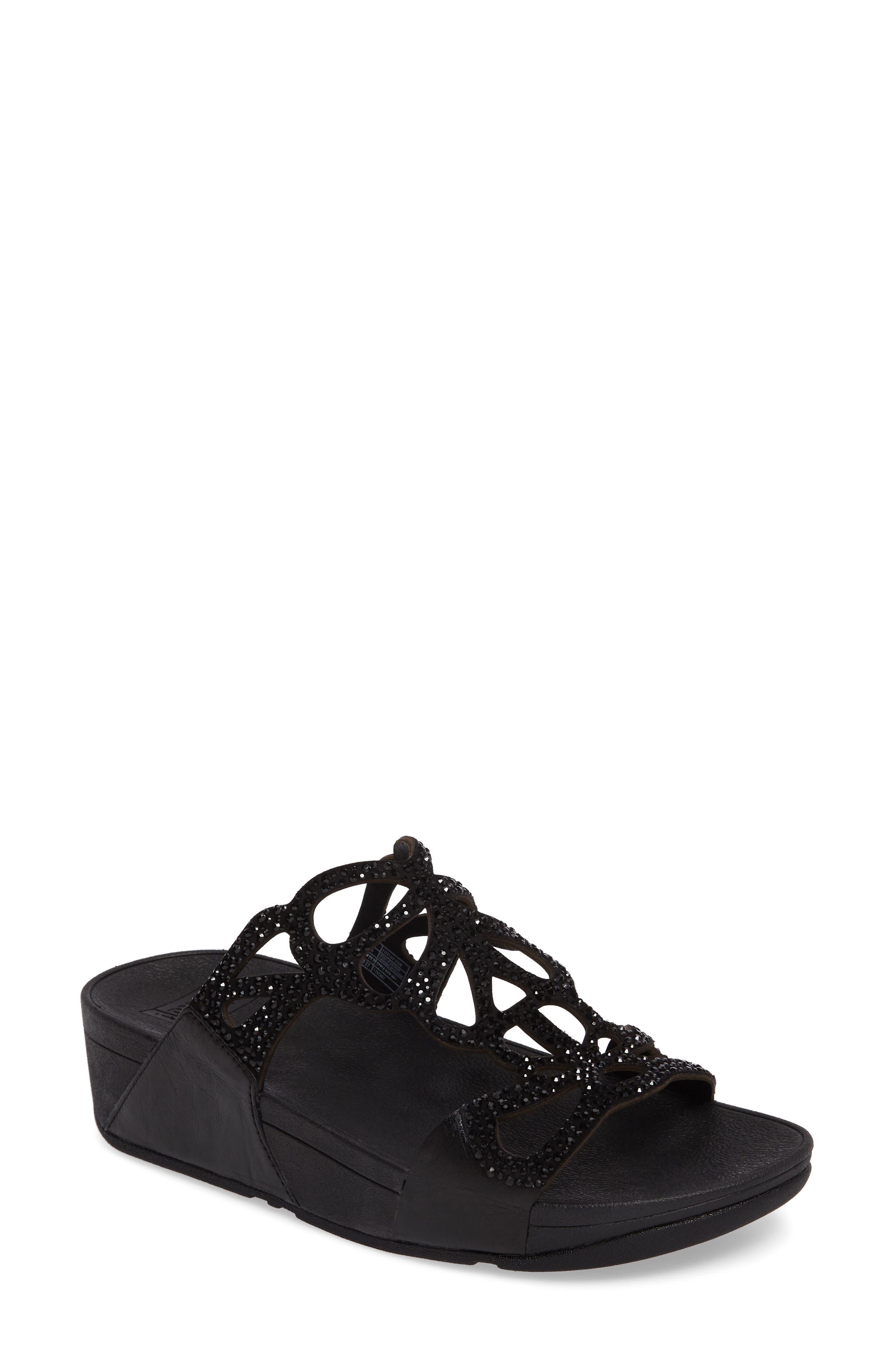 Bumble Wedge Slide Sandal,                         Main,                         color, Black Leather