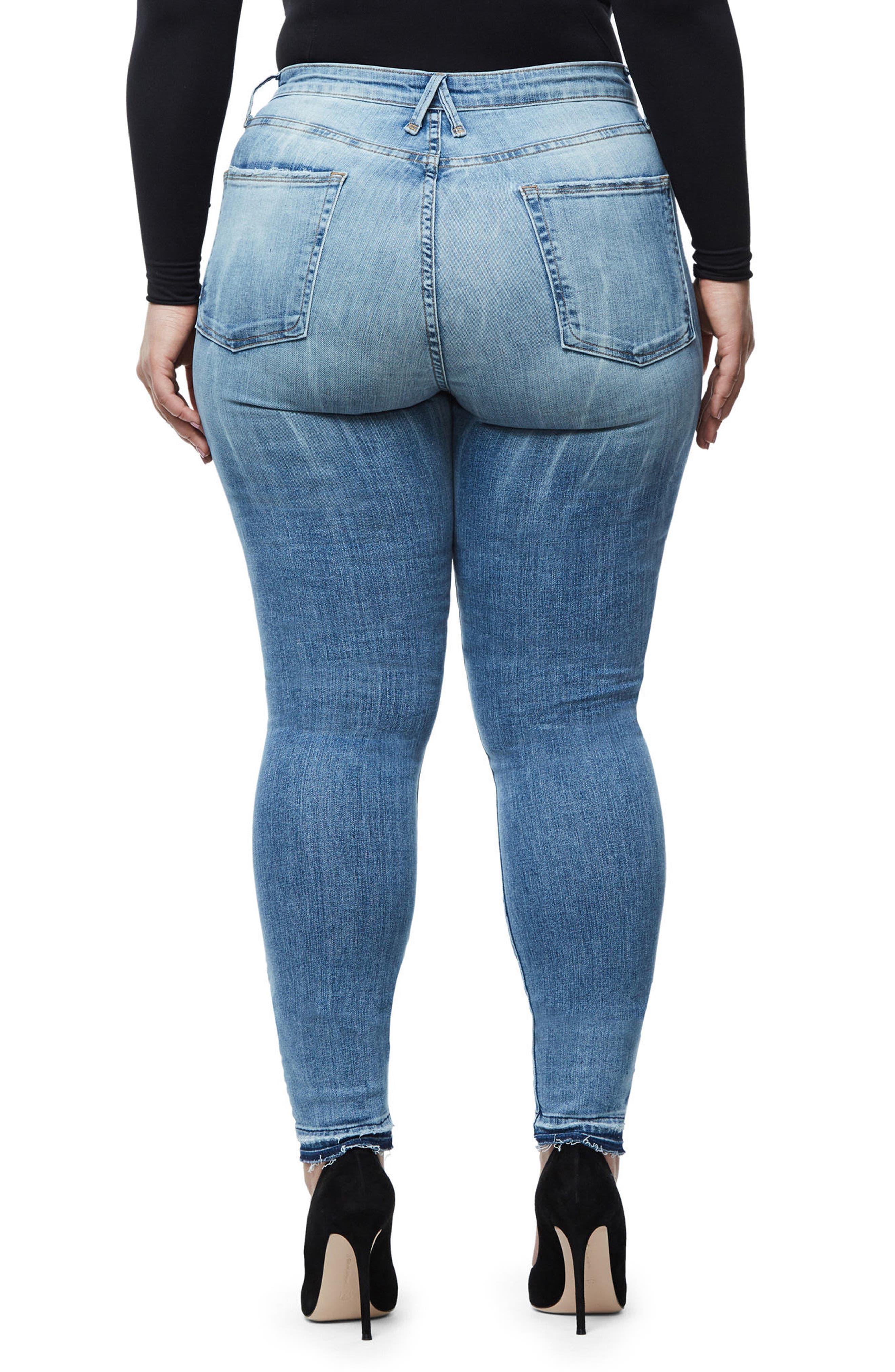 Alternate Image 5  - Good American Good Waist Exposed Zip Skinny Jeans (Blue 075) (Extended Sizes)