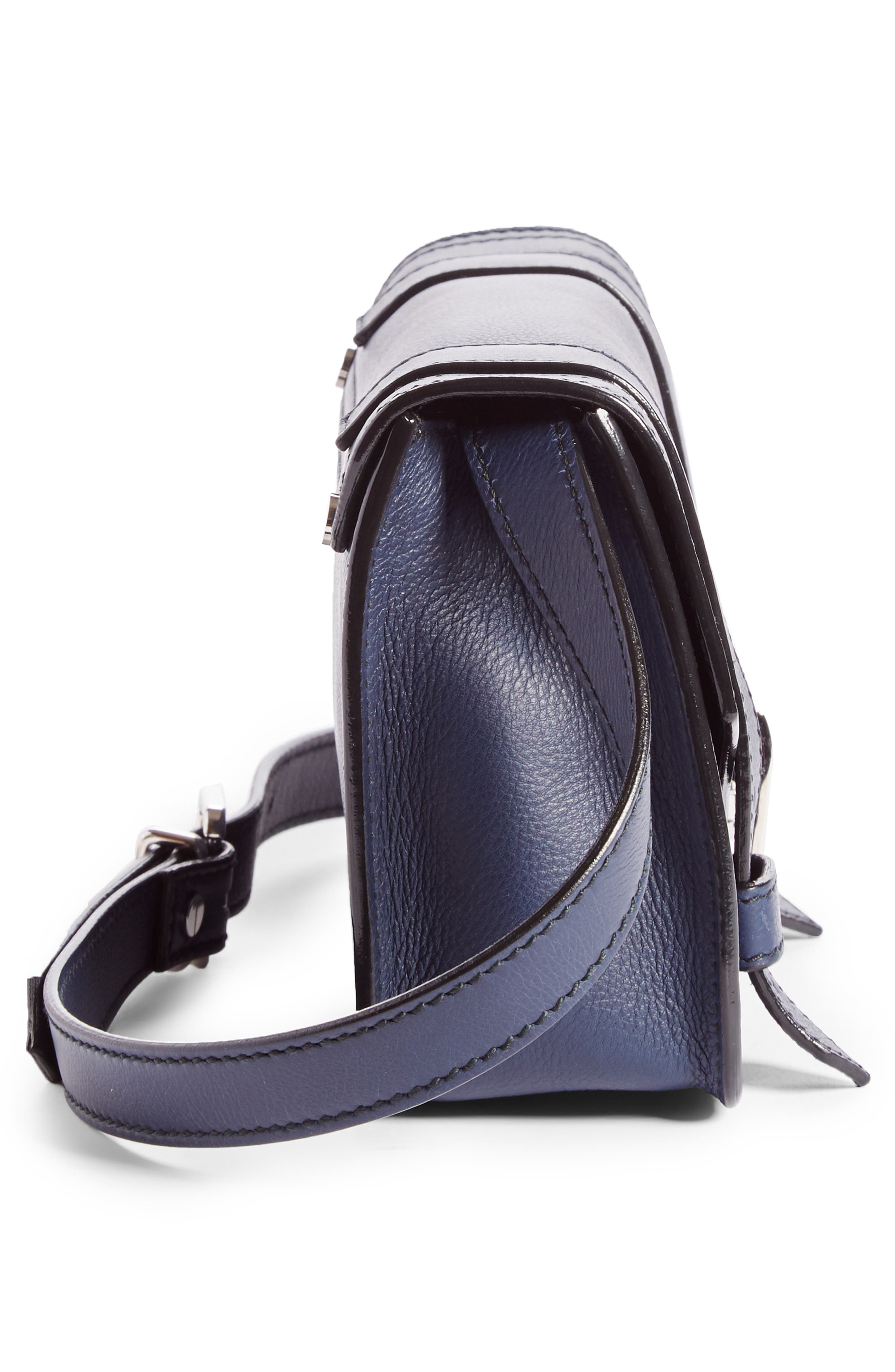 Mini PS1 Leather Crossbody Bag,                             Alternate thumbnail 4, color,                             Indigo