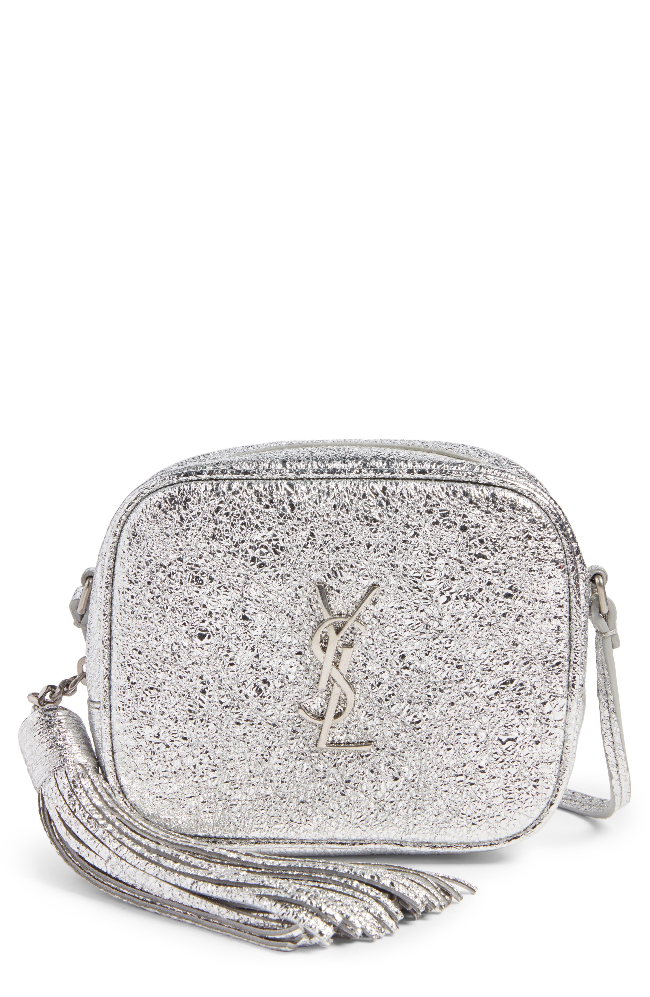 Monogram Blogger Calfskin Crossbody Bag,                         Main,                         color, Argento/ Nero