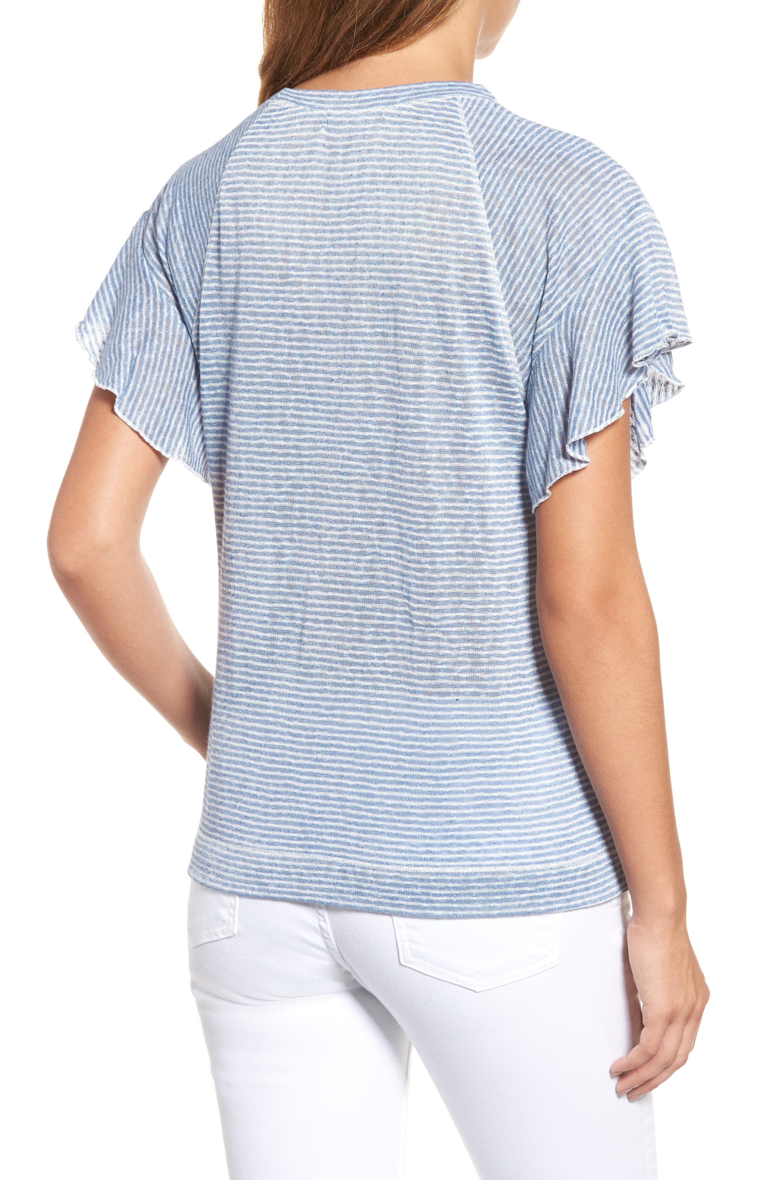 Stripe Knit Flutter Sleeve Top,                             Alternate thumbnail 2, color,                             Off White/ Blue