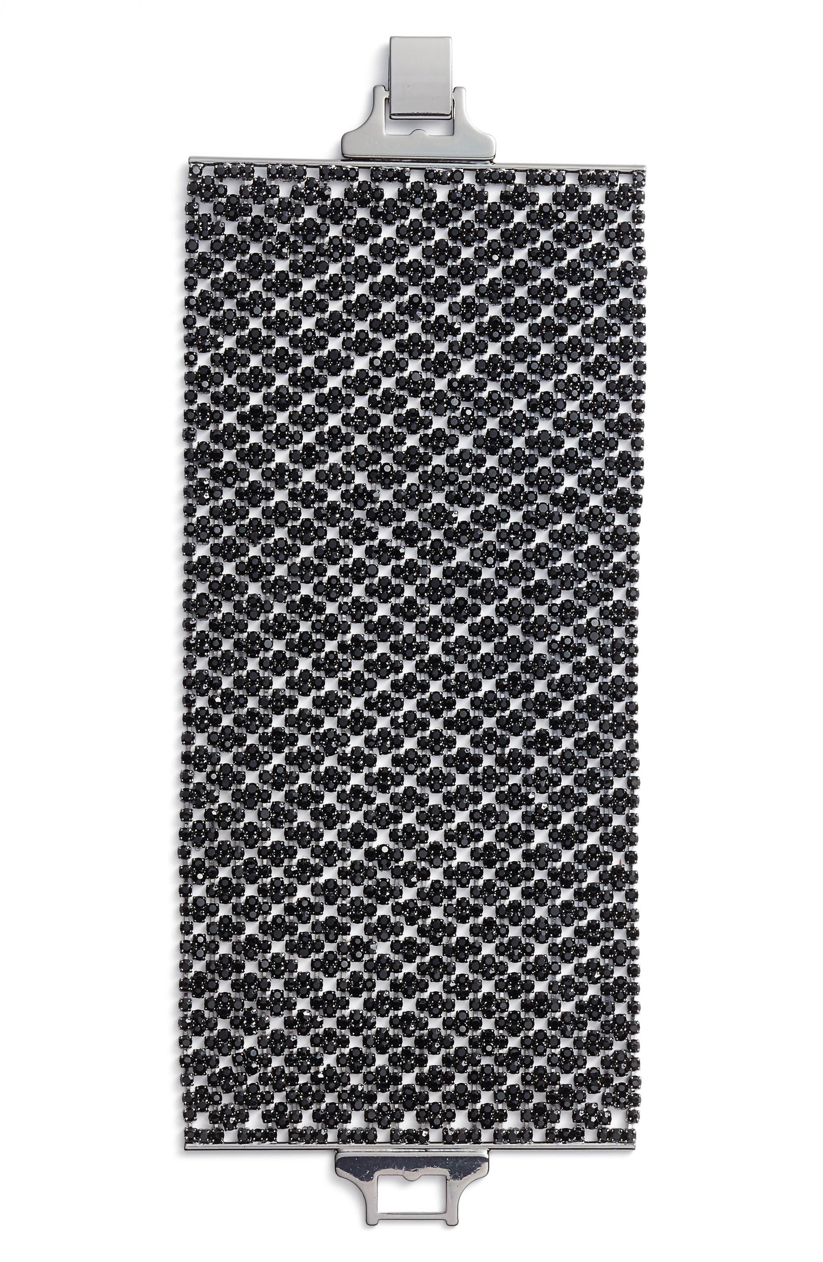Wide Crystal Bracelet,                         Main,                         color, Jet / Hematite