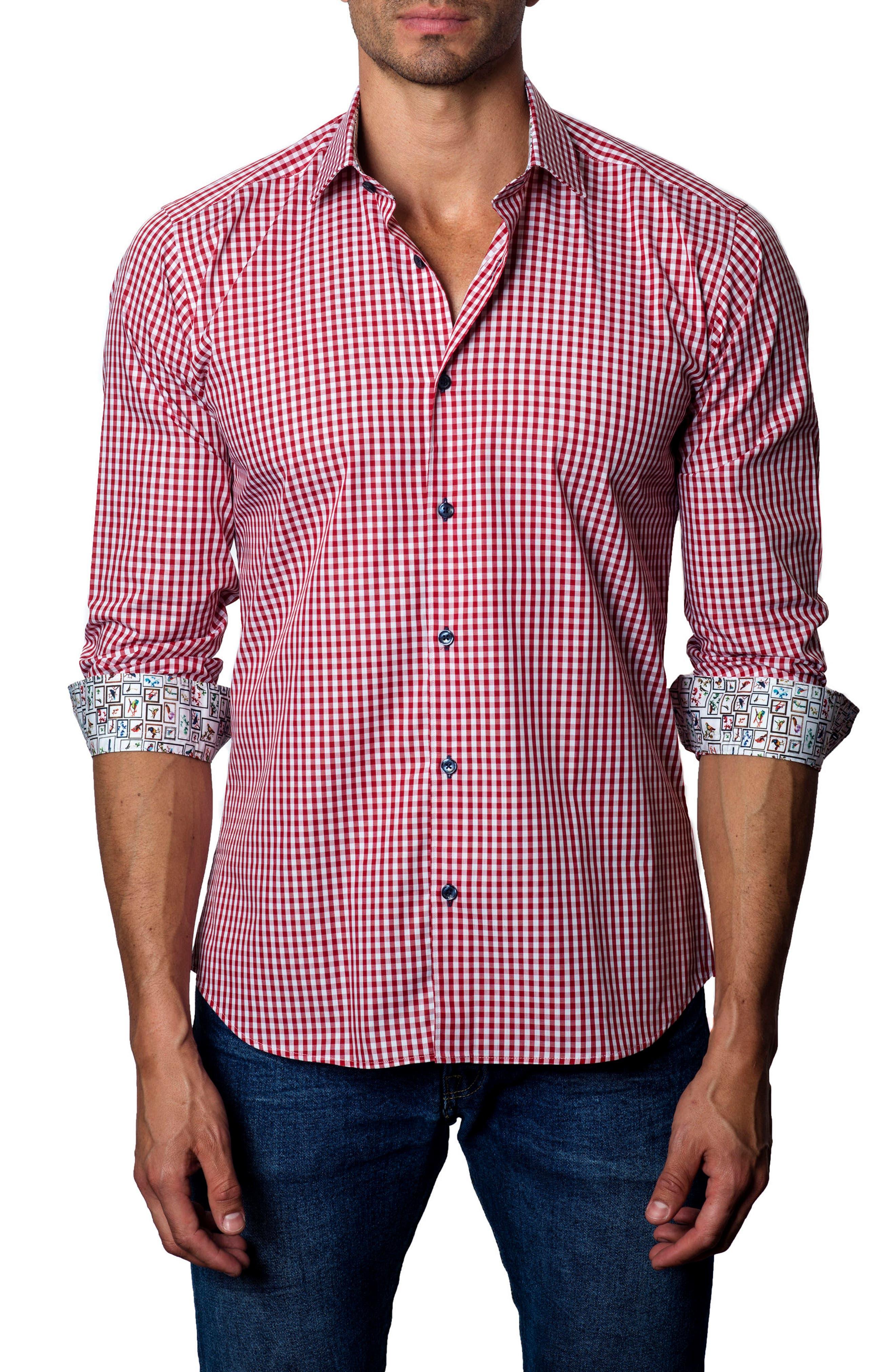 Gingham Check Sport Shirt,                         Main,                         color, Dark Red Gingham