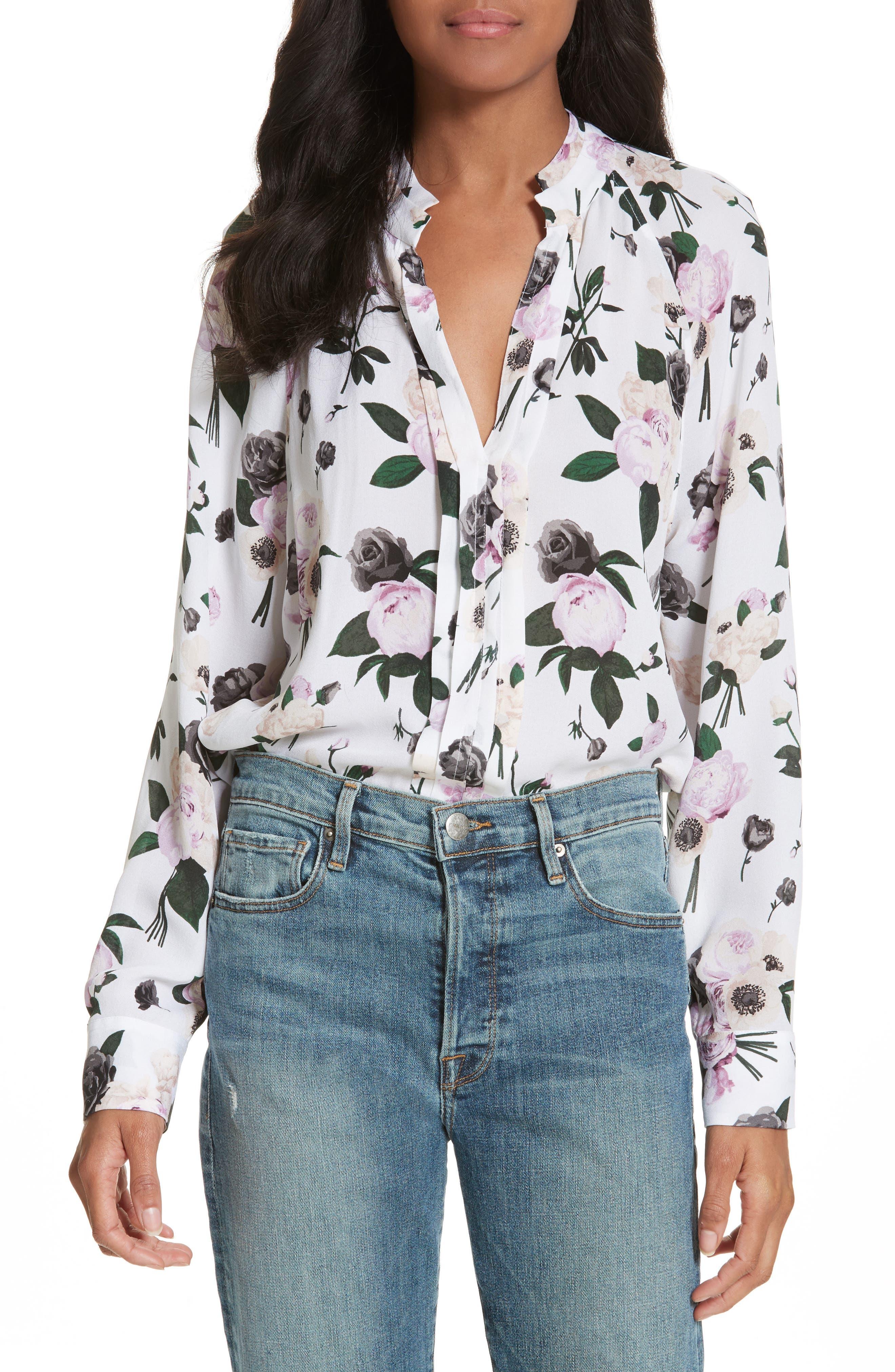 Liana Floral Print Silk Blouse,                         Main,                         color, Bright White Multi