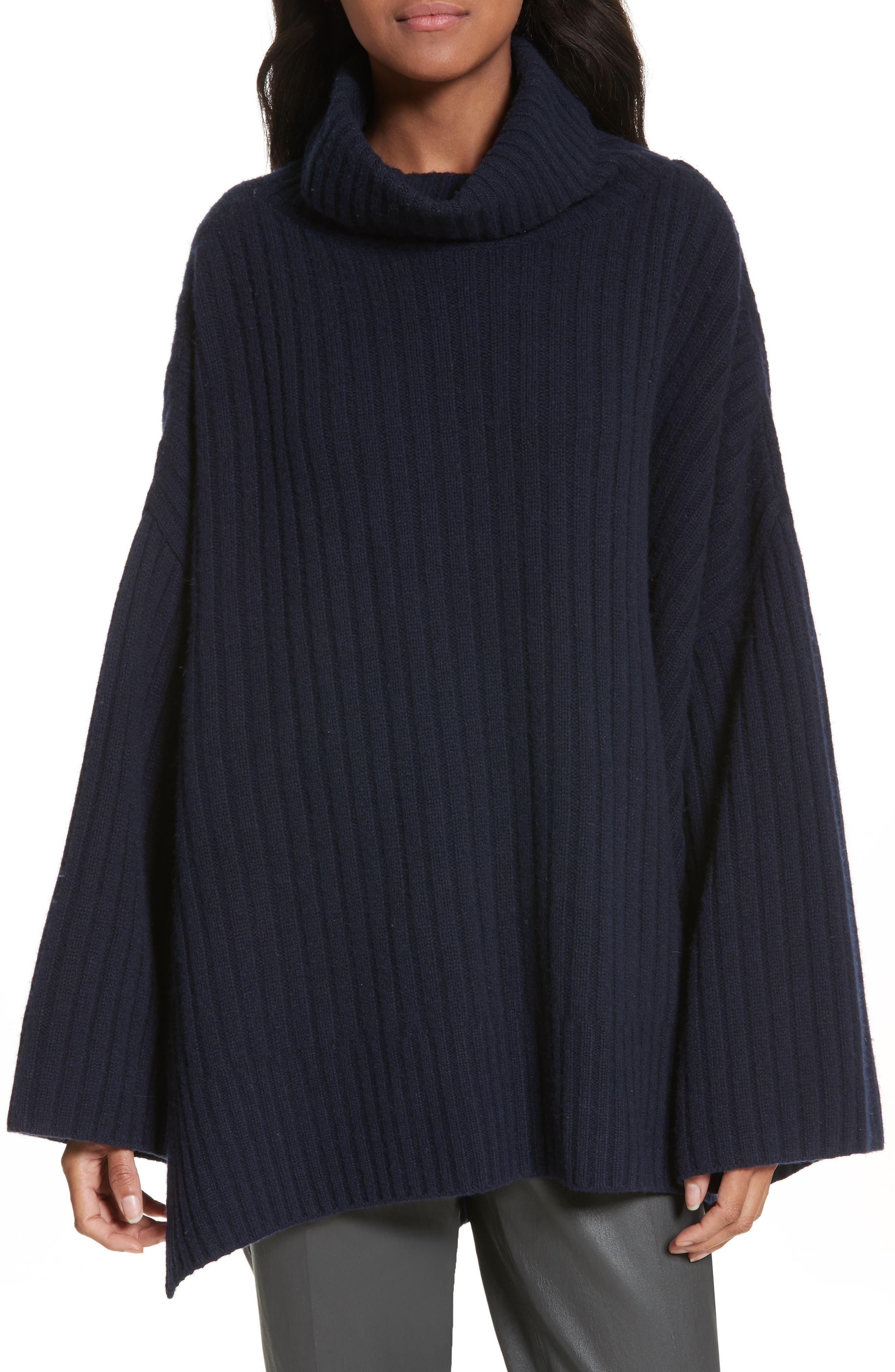 Ribbed Wool Poncho,                         Main,                         color, Navy