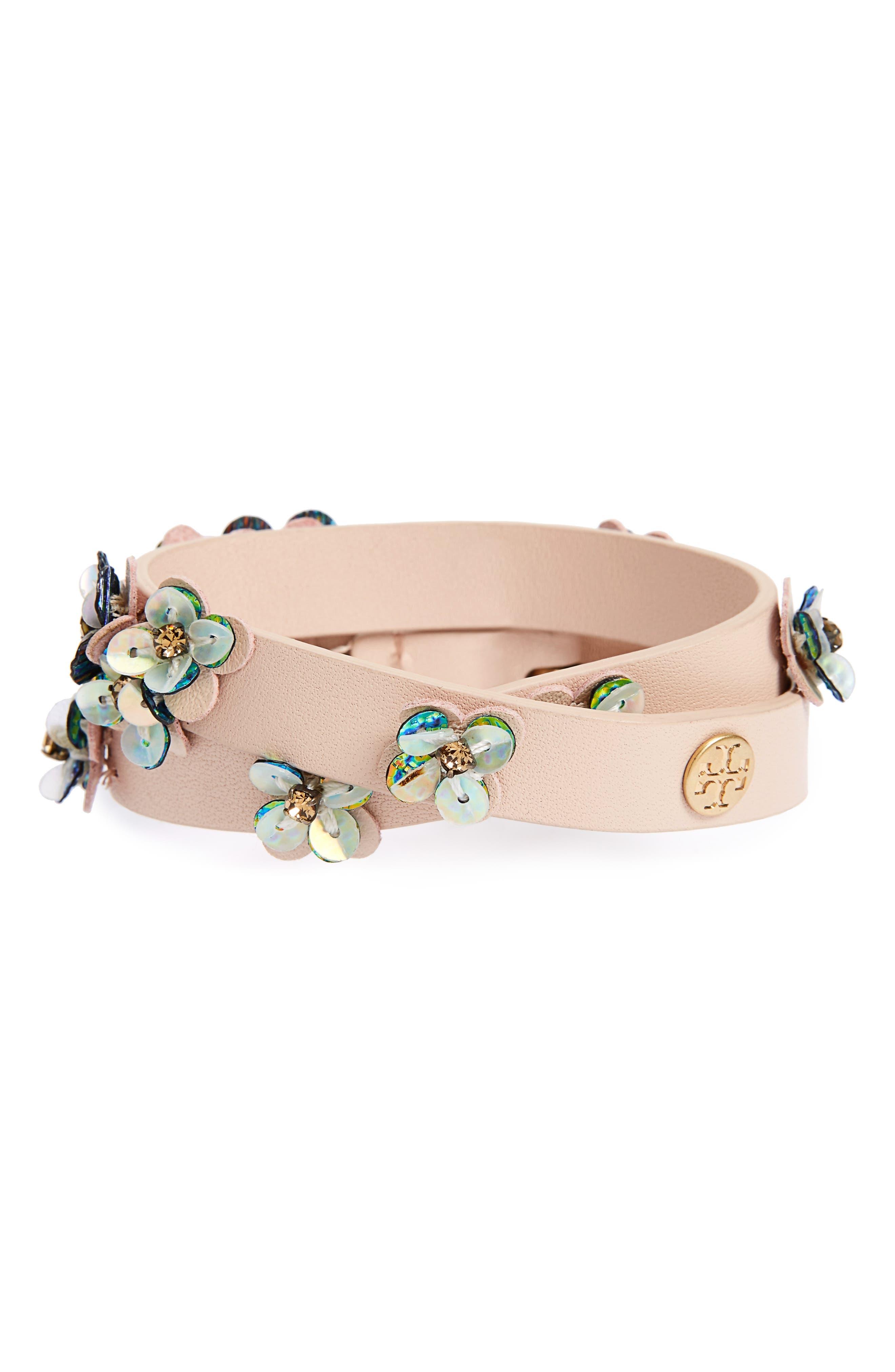Leather Wrap Bracelet,                             Main thumbnail 1, color,                             Light Oak / Vintage Gold