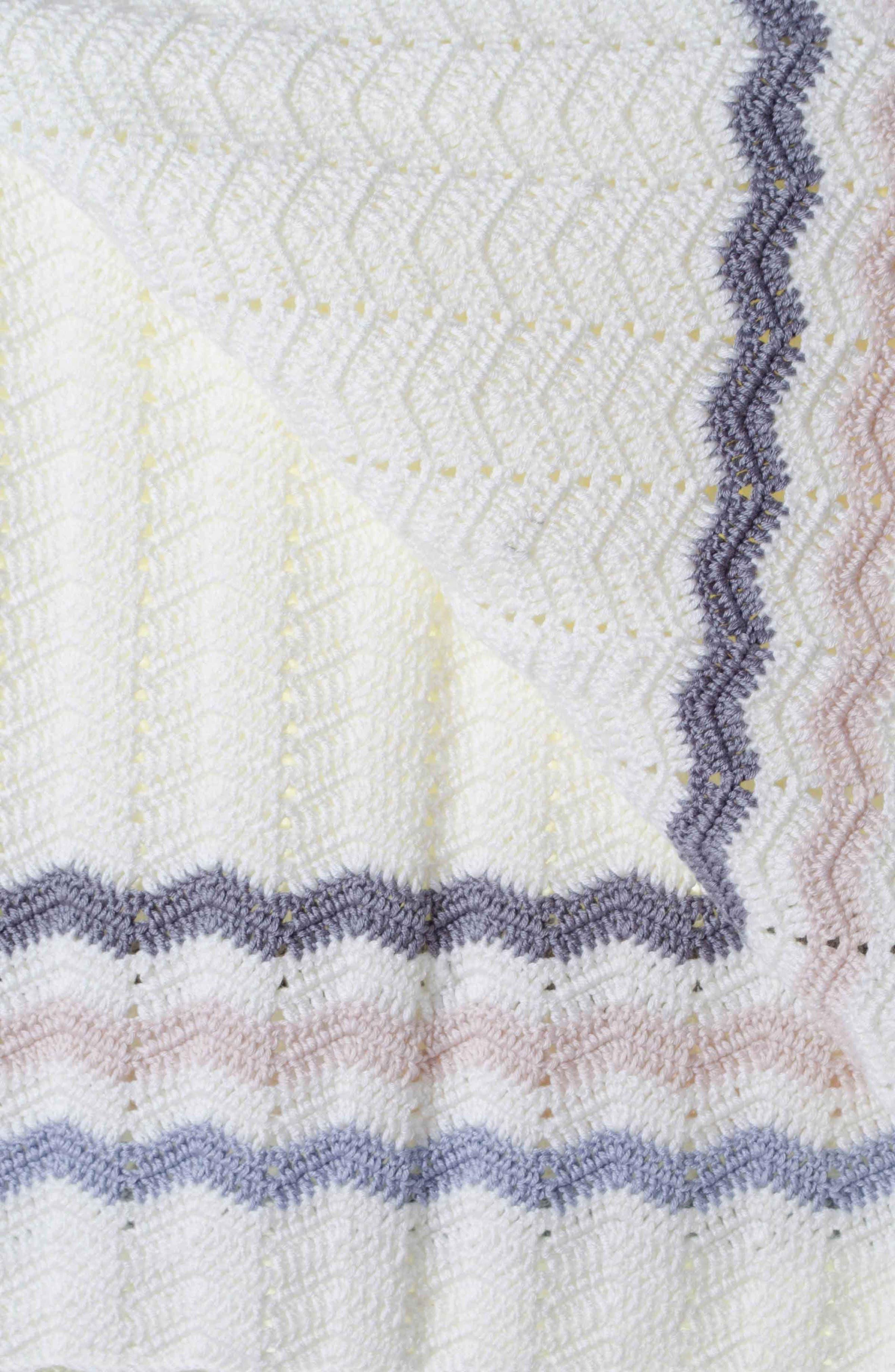 Ripple Crocheted Blanket,                             Alternate thumbnail 4, color,                             Blue