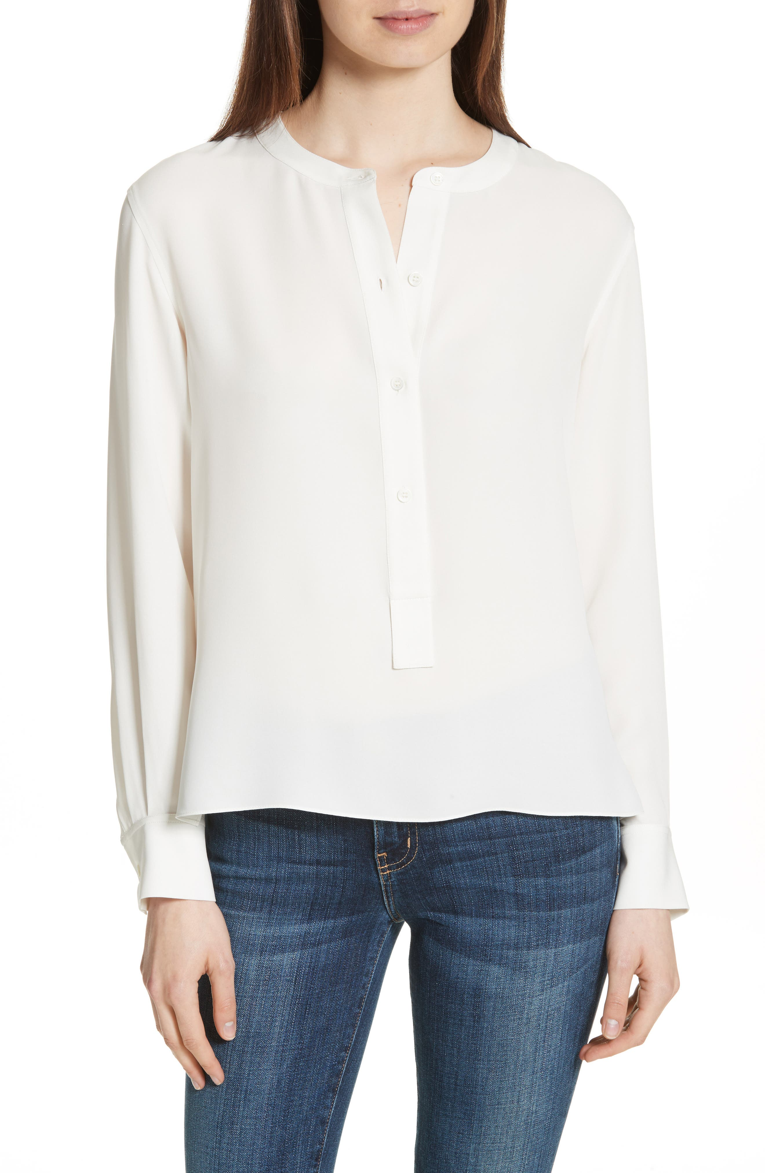 Isalva Classic Georgette Silk Blouse,                         Main,                         color, Ivory
