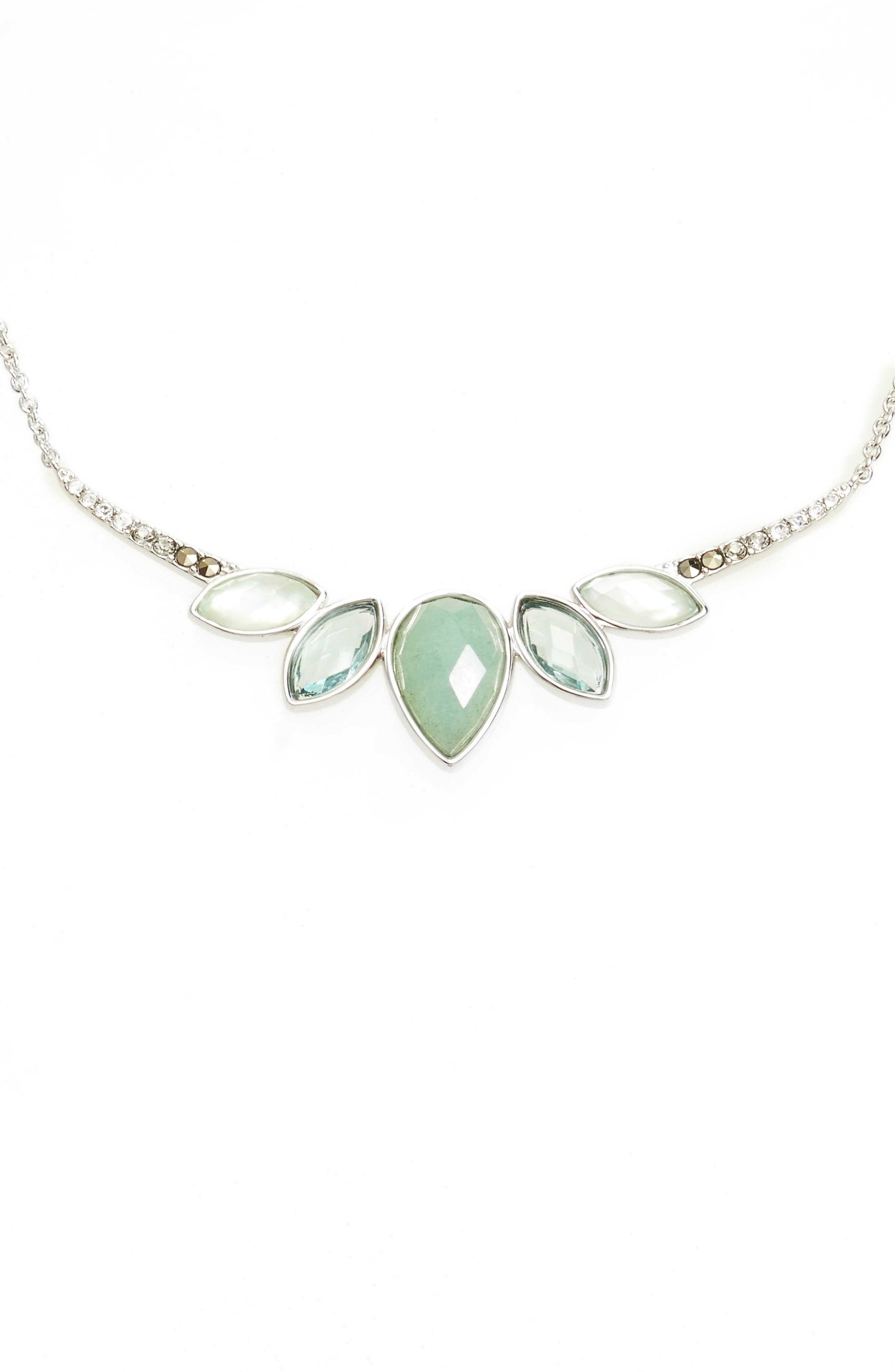 Lakeside Crystal Frontal Necklace,                             Main thumbnail 1, color,                             Green/ Black Diamond
