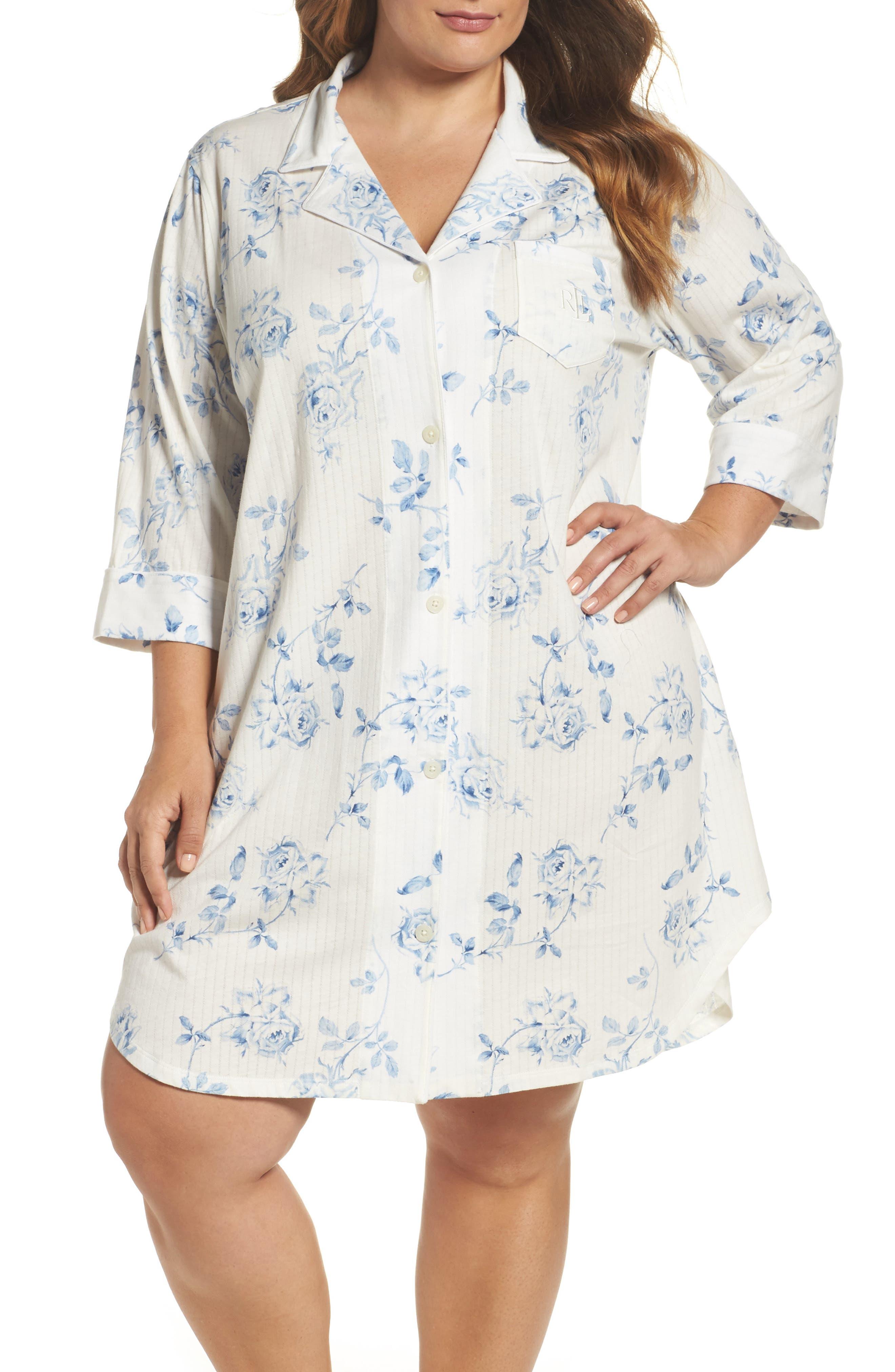 Main Image - Lauren Ralph Lauren Sleep Shirt (Plus Size)