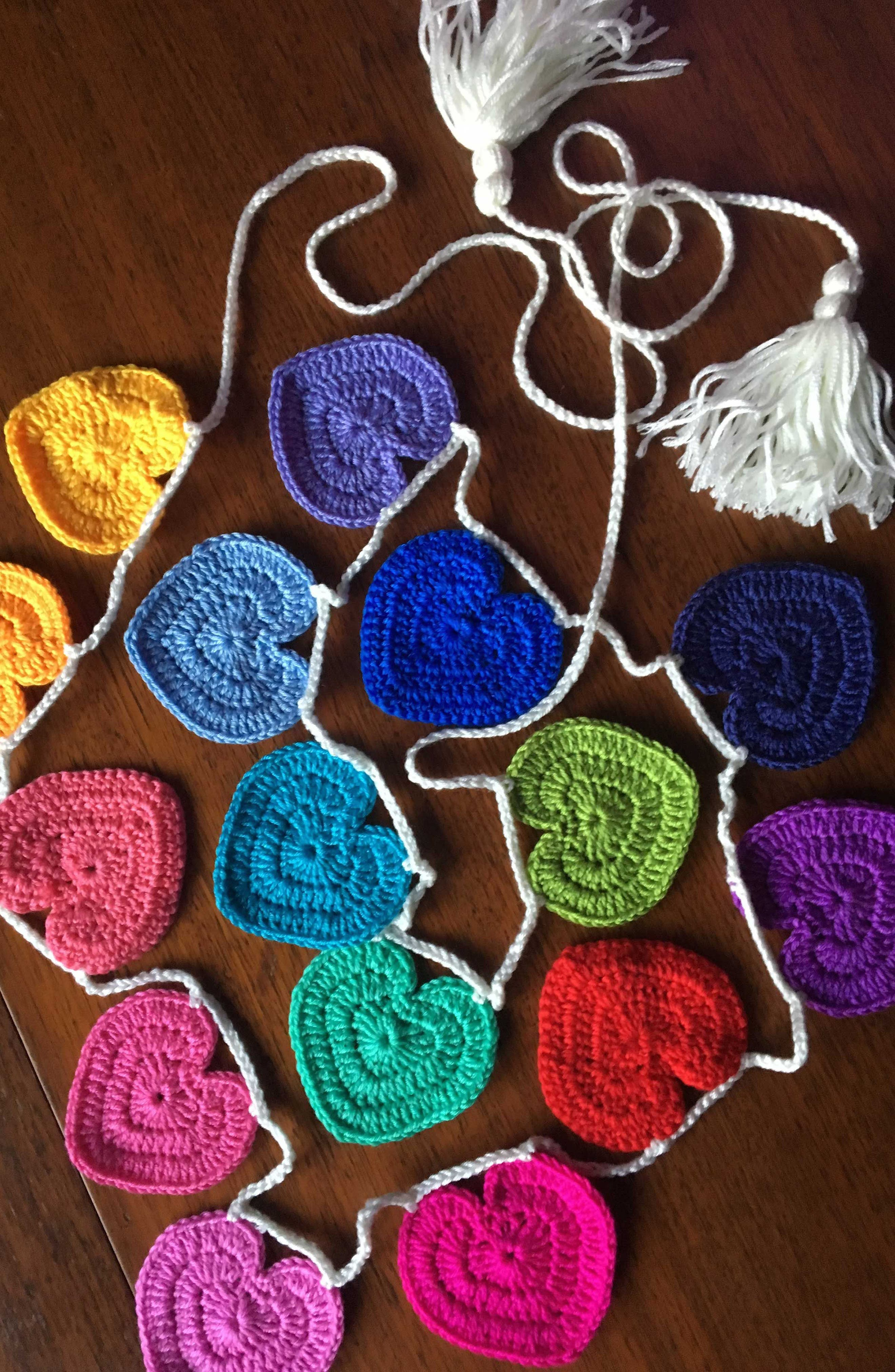 Crocheted Heart Bunting,                             Alternate thumbnail 3, color,                             Rainbow