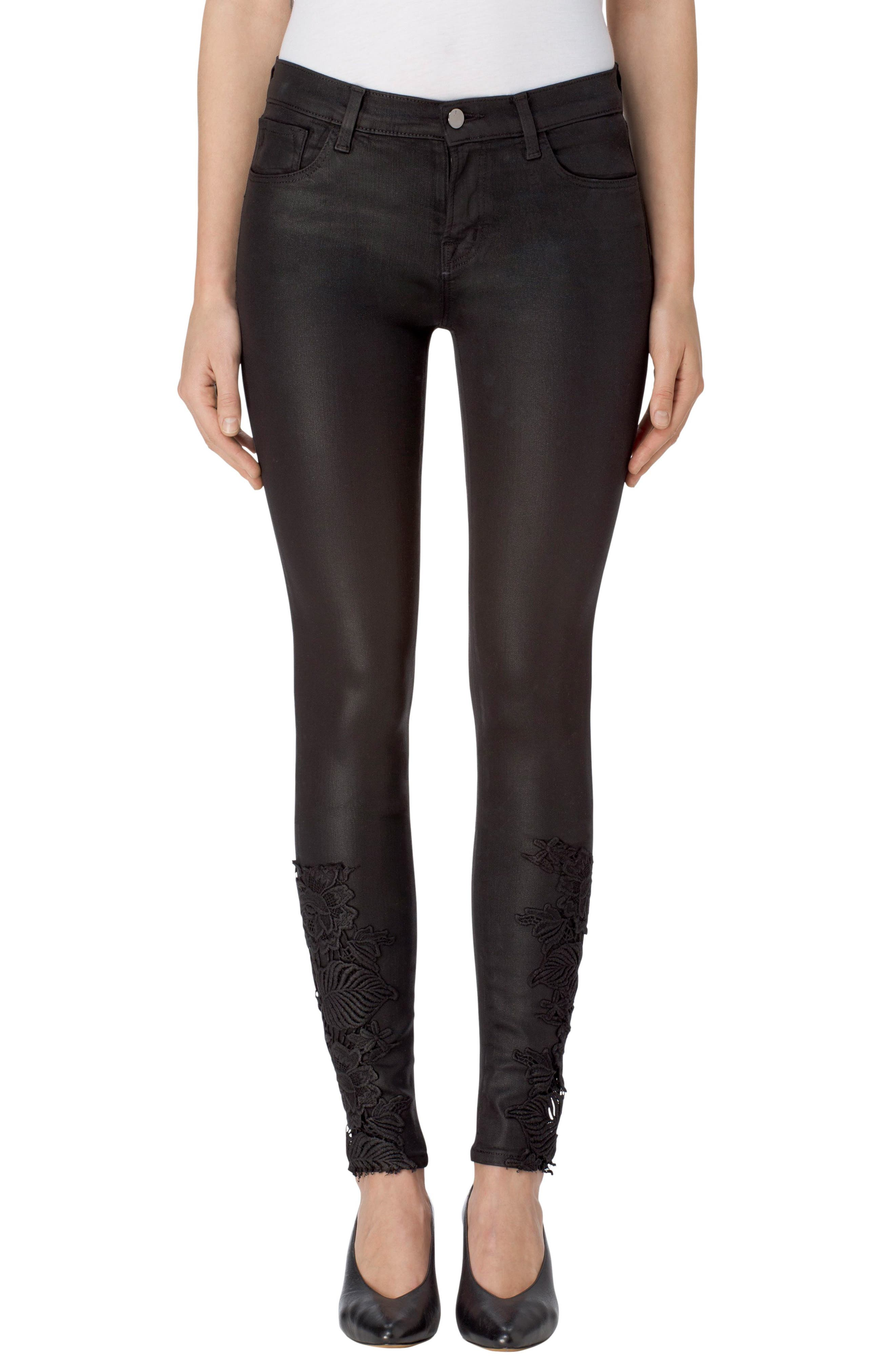 Alternate Image 1 Selected - J Brand 620 Mid Rise Super Skinny Jeans (Coated Black Lace)