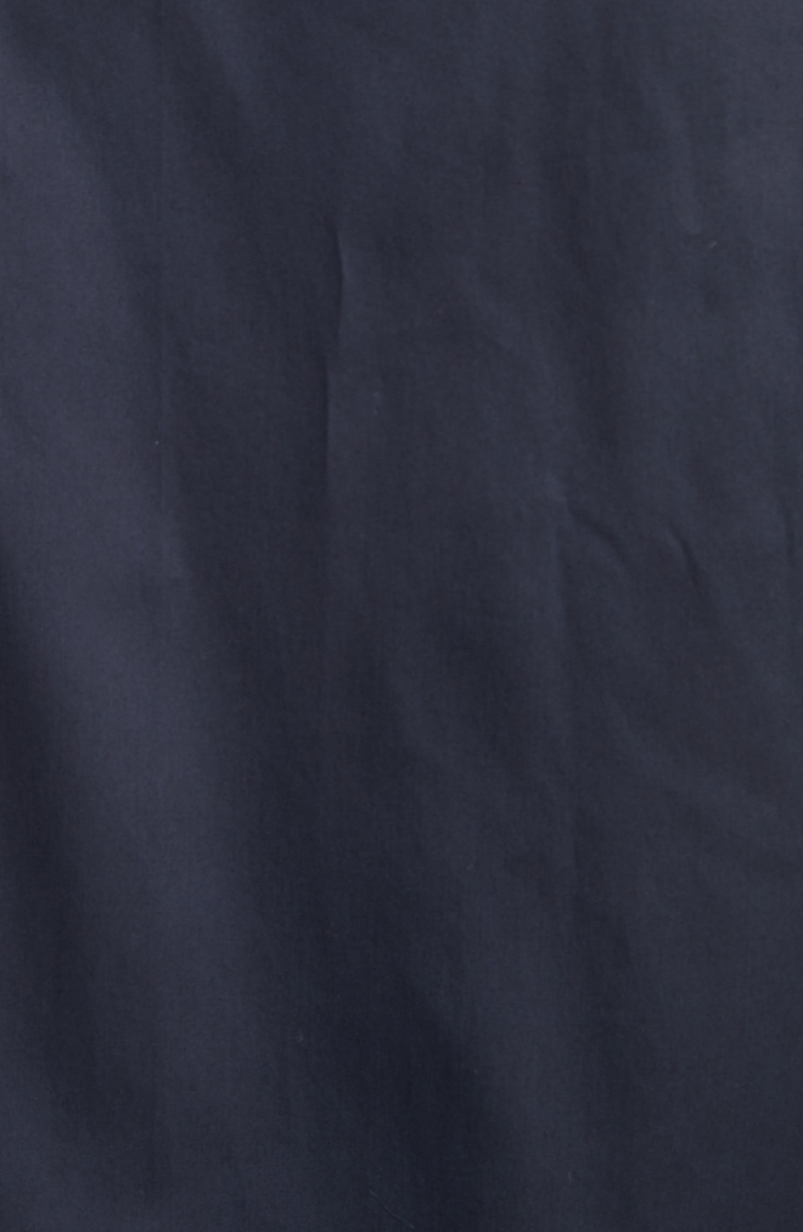 Zip Front Stretch Cotton Shirt,                             Alternate thumbnail 5, color,                             Navy