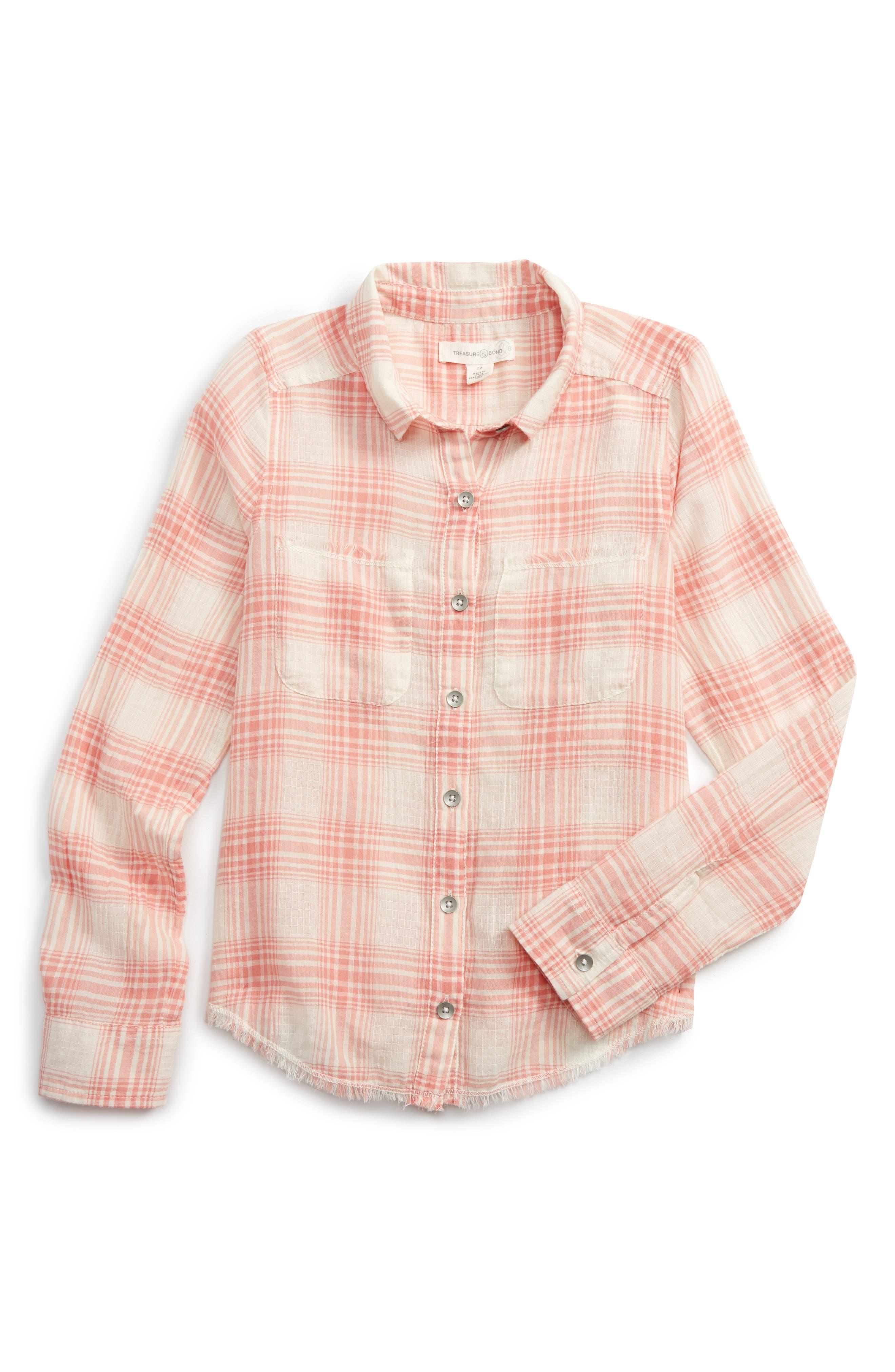 Plaid Shirt,                             Main thumbnail 1, color,                             Pink Lily Summer Plaid
