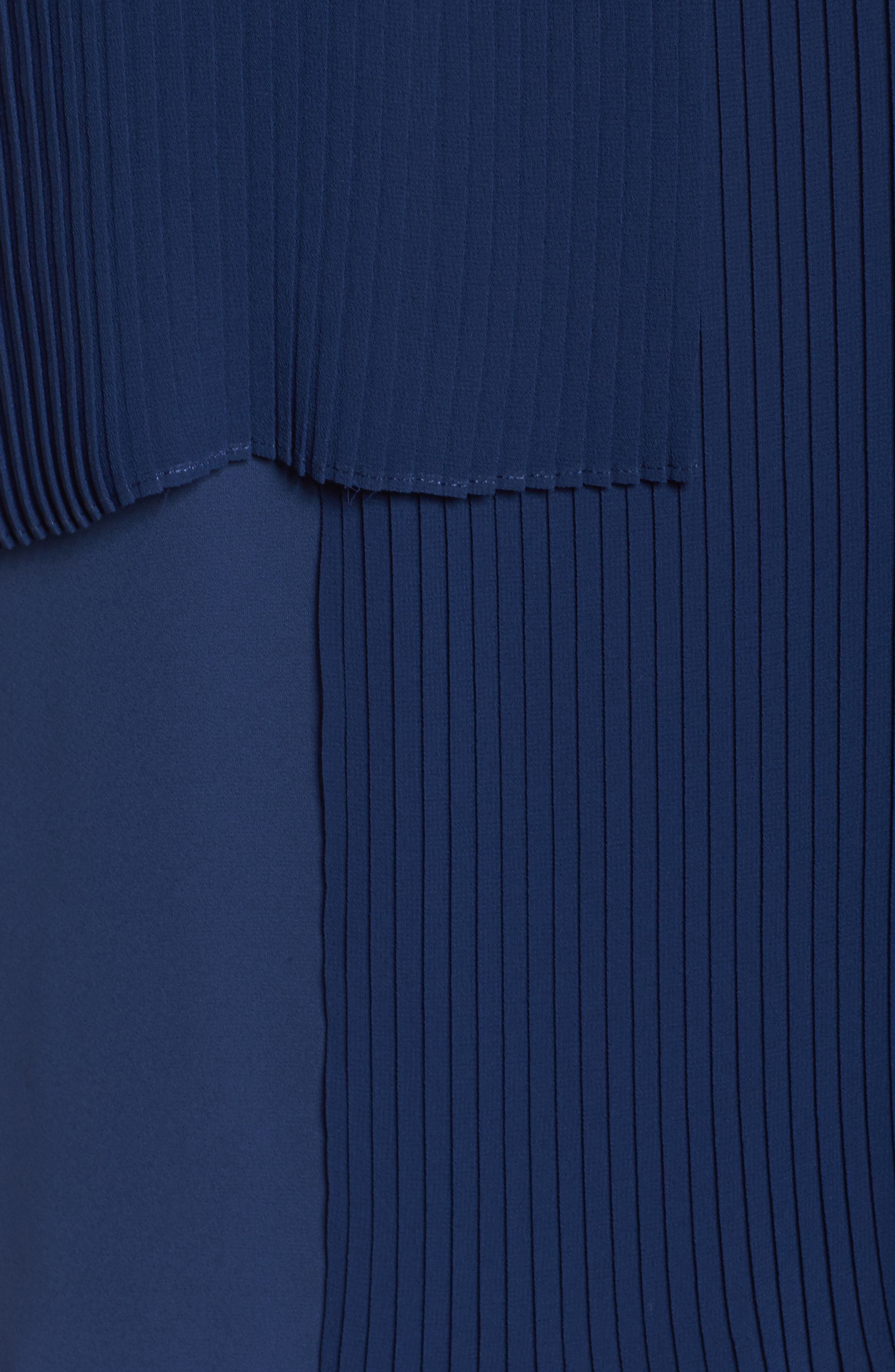 Asymmetrical Pleat Front Shell,                             Alternate thumbnail 6, color,                             Navy Medieval