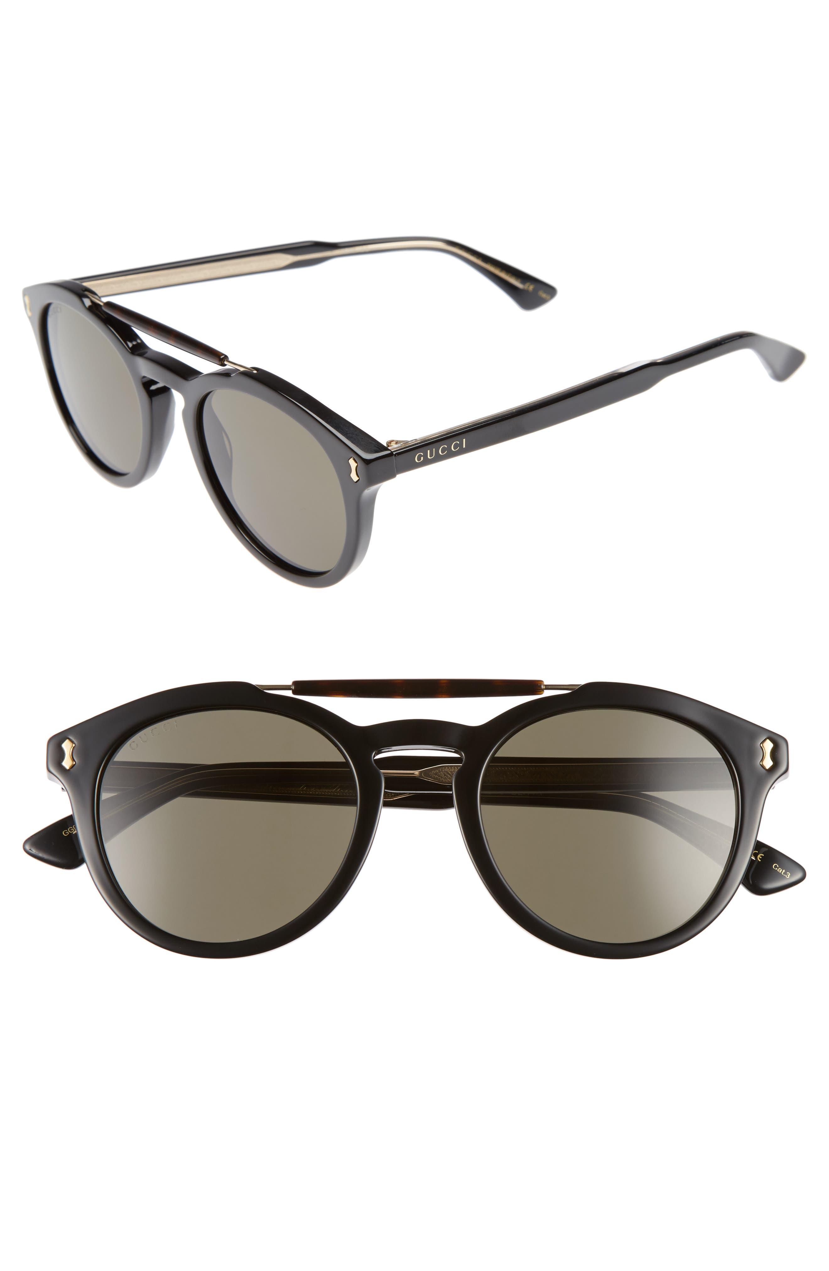 Vintage Pilot 50mm Sunglasses,                             Main thumbnail 1, color,                             Black/ Grey