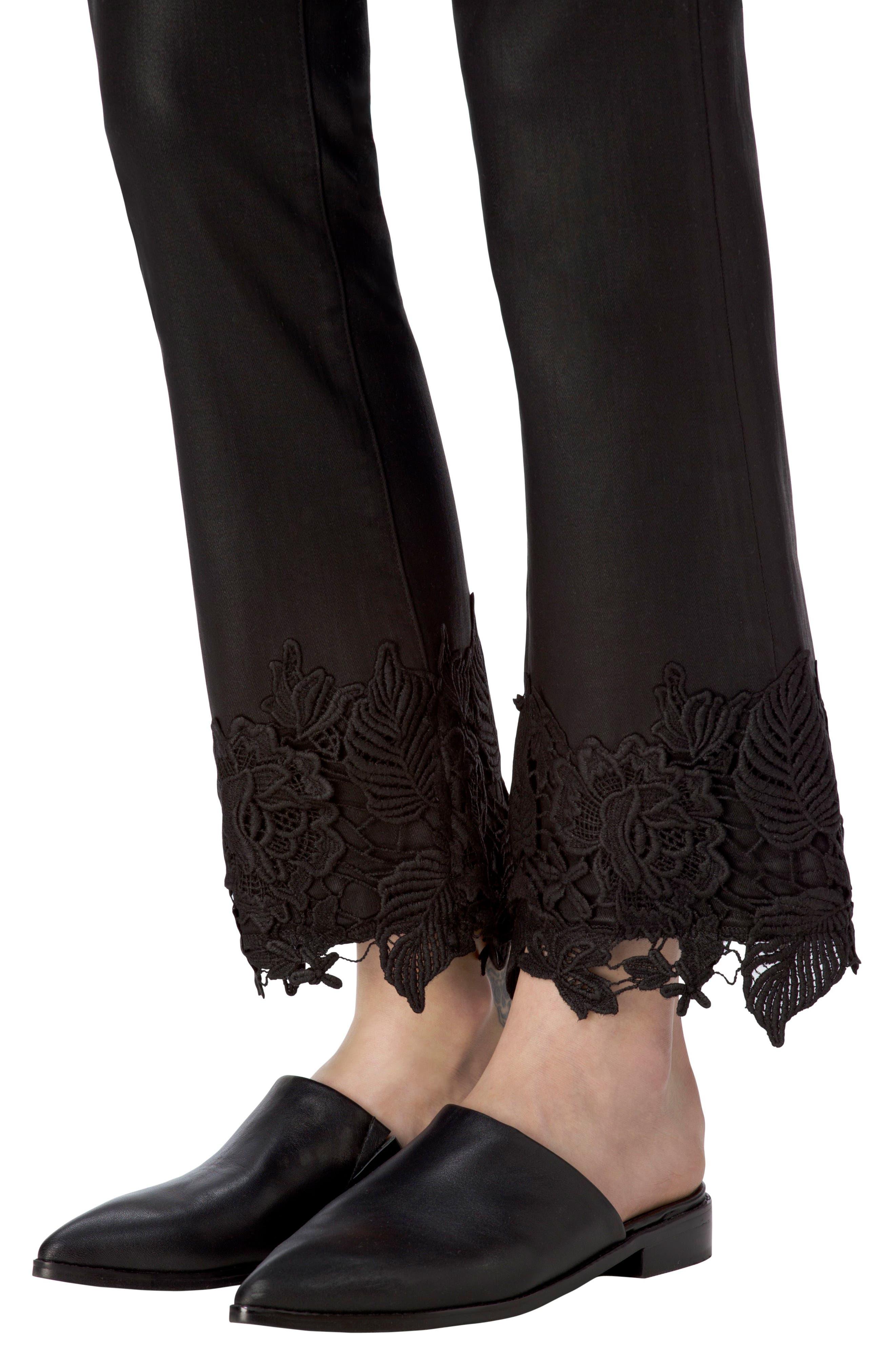 Alternate Image 4  - J Brand Selena Crop Bootcut Jeans (Coated Black Lace)