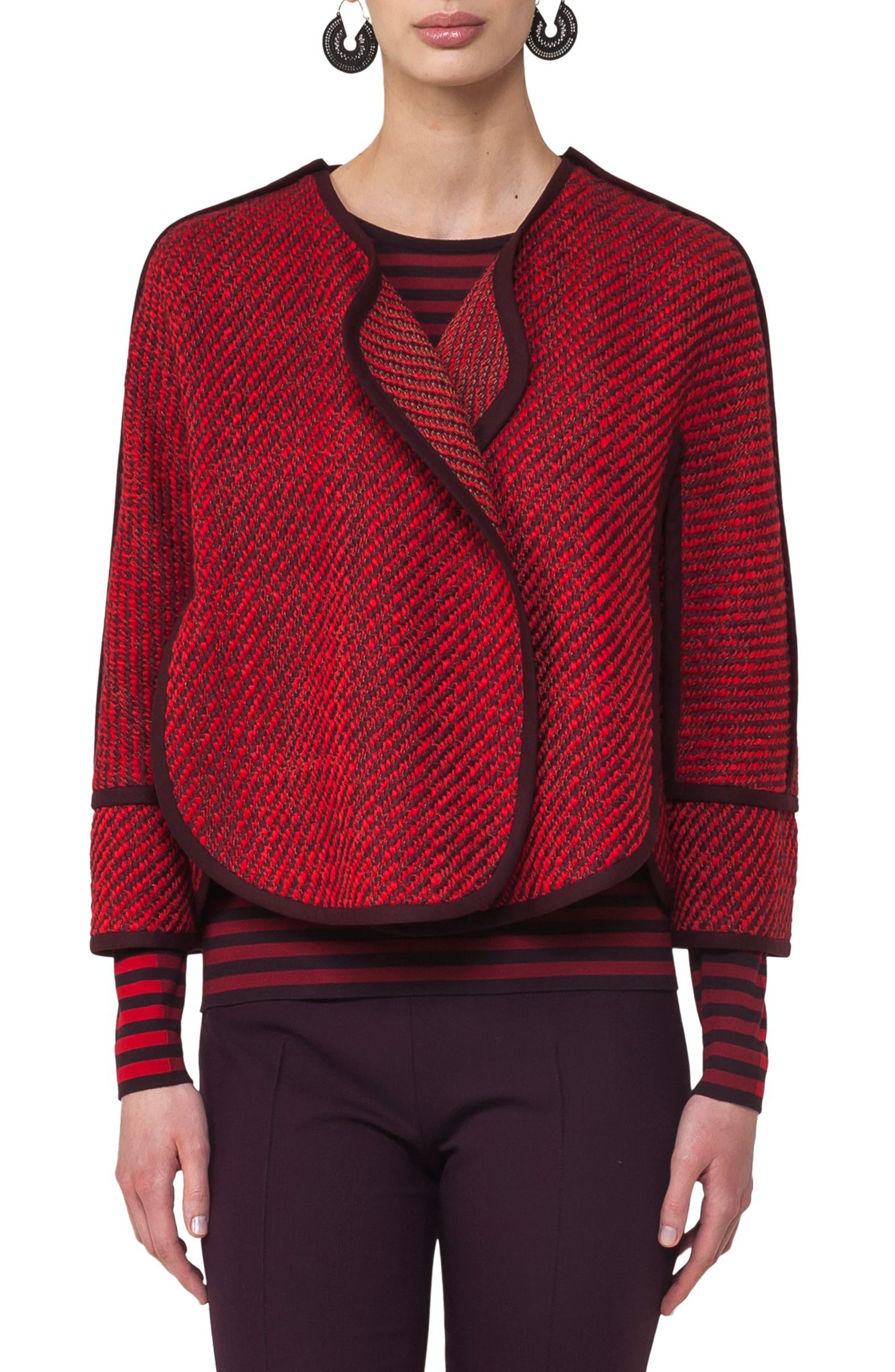Wool Blend Crop Jacket,                         Main,                         color, Ruby-Wine