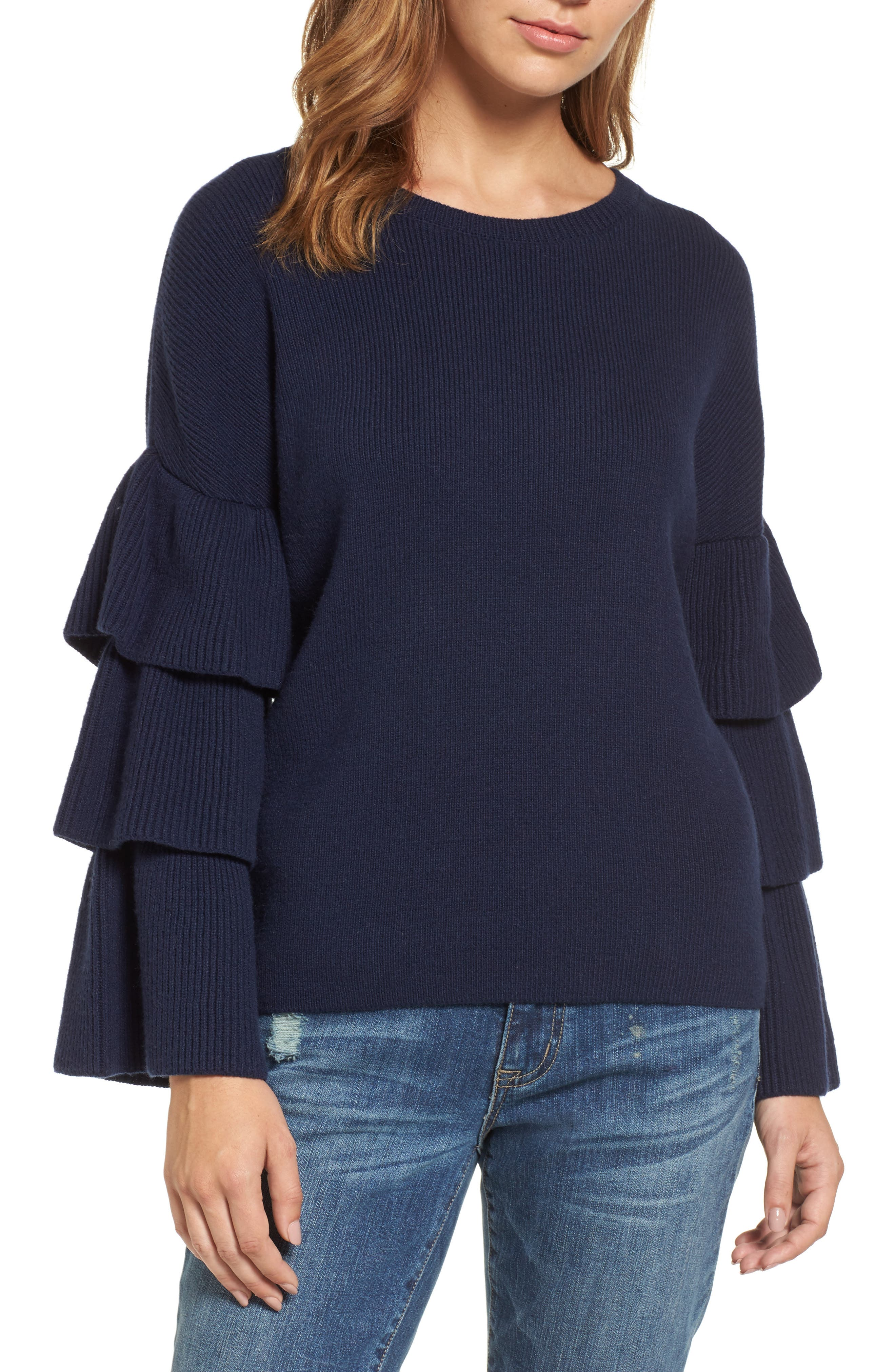 Halogen® Ruffle Sleeve Sweater (Regular & Petite)