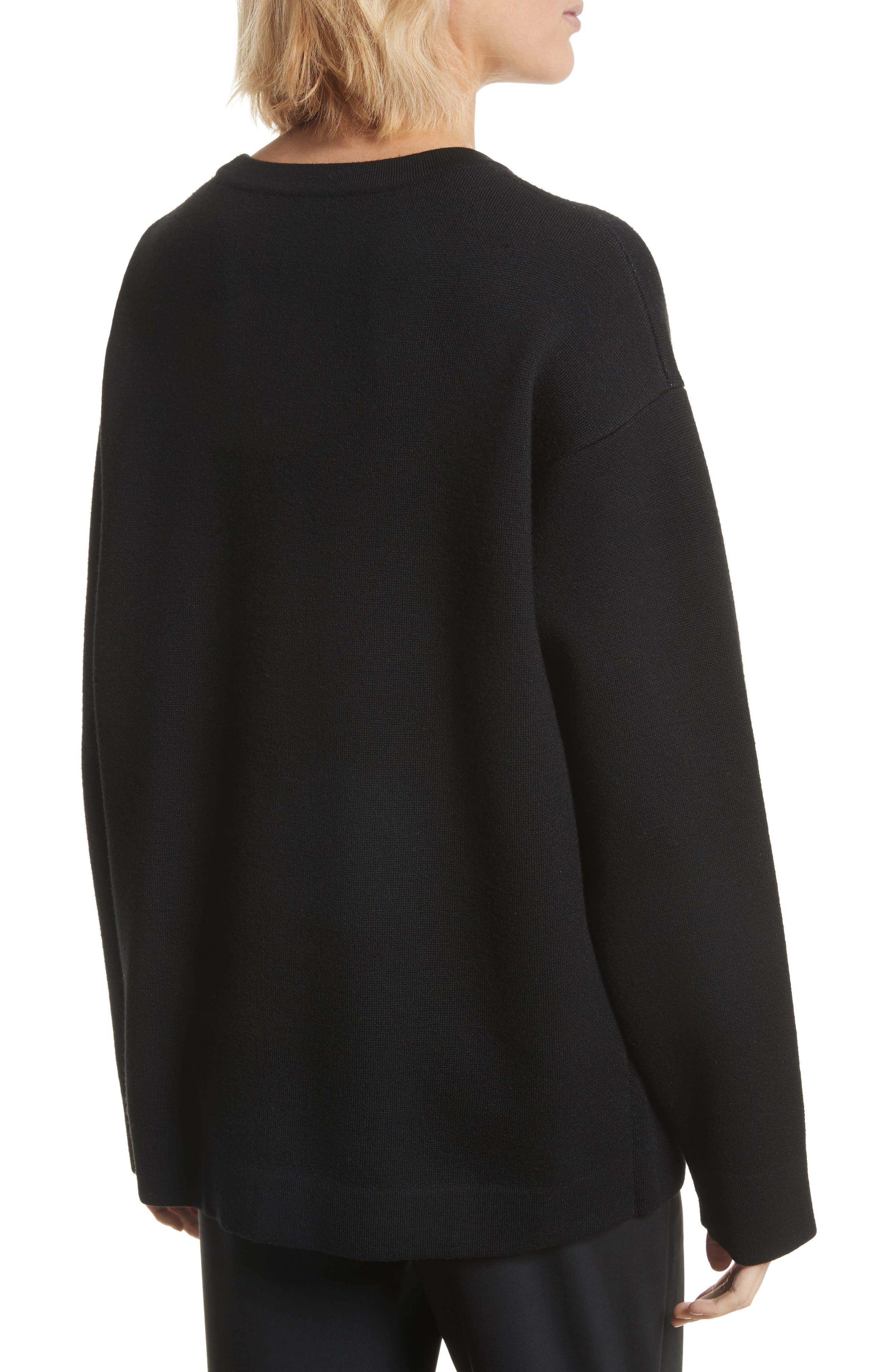 Embroidered Cat Pullover,                             Alternate thumbnail 2, color,                             Black
