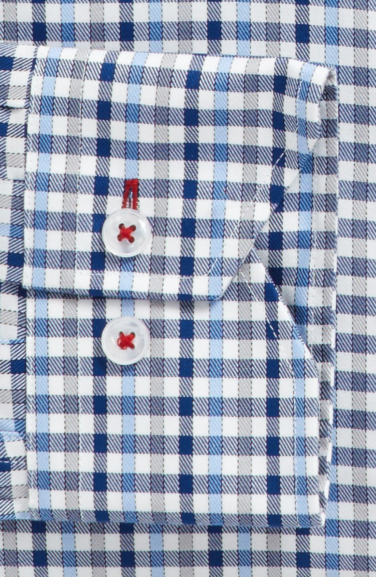 Trim Fit Check Dress Shirt,                             Alternate thumbnail 3, color,                             Dark Blue