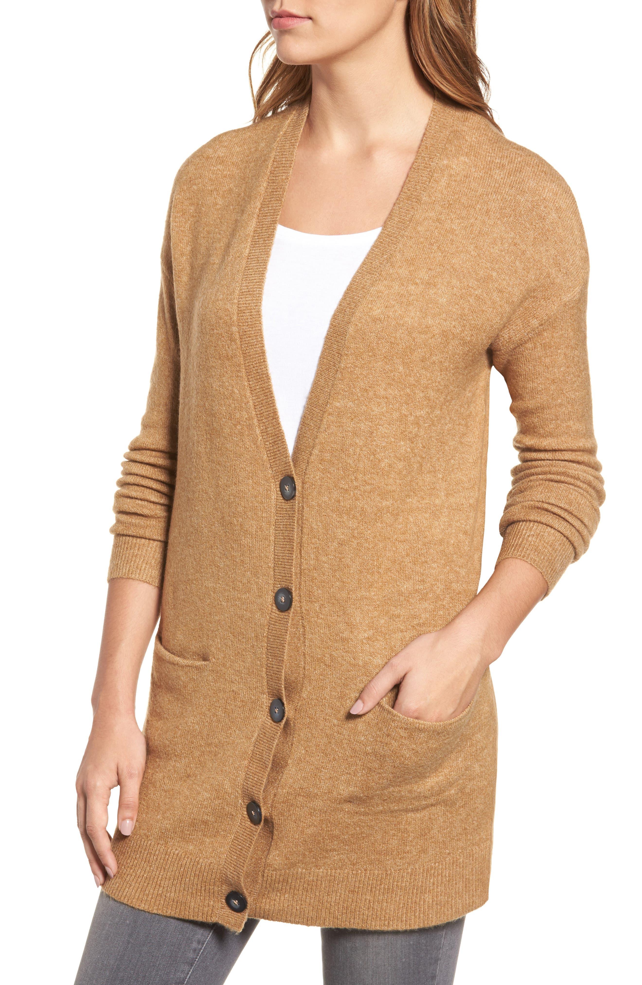 Alternate Image 4  - Halogen® Long Sleeve V-Neck Cardigan (Regular & Petite)