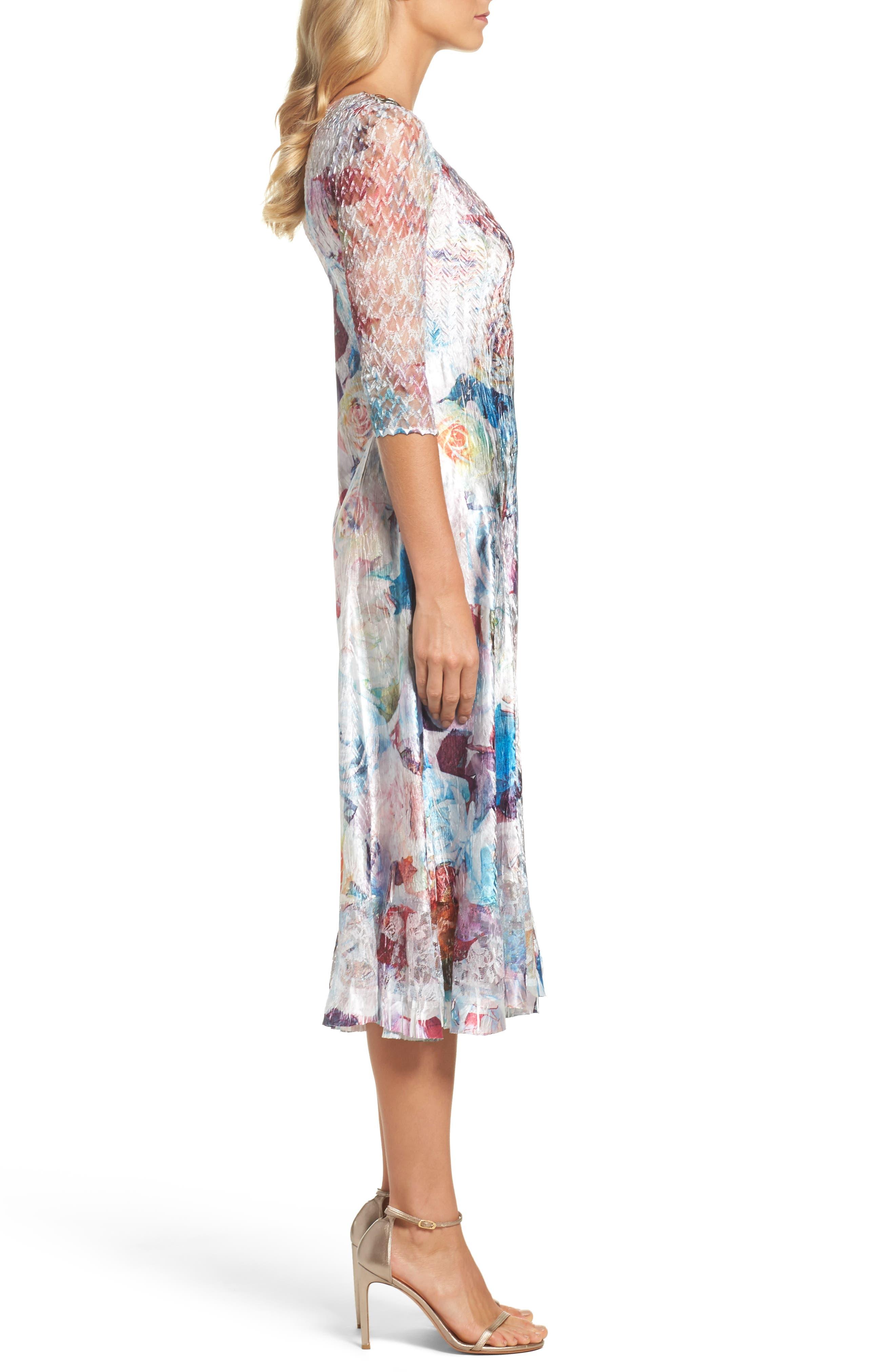 A-Line Dress,                             Alternate thumbnail 3, color,                             Summer Eden