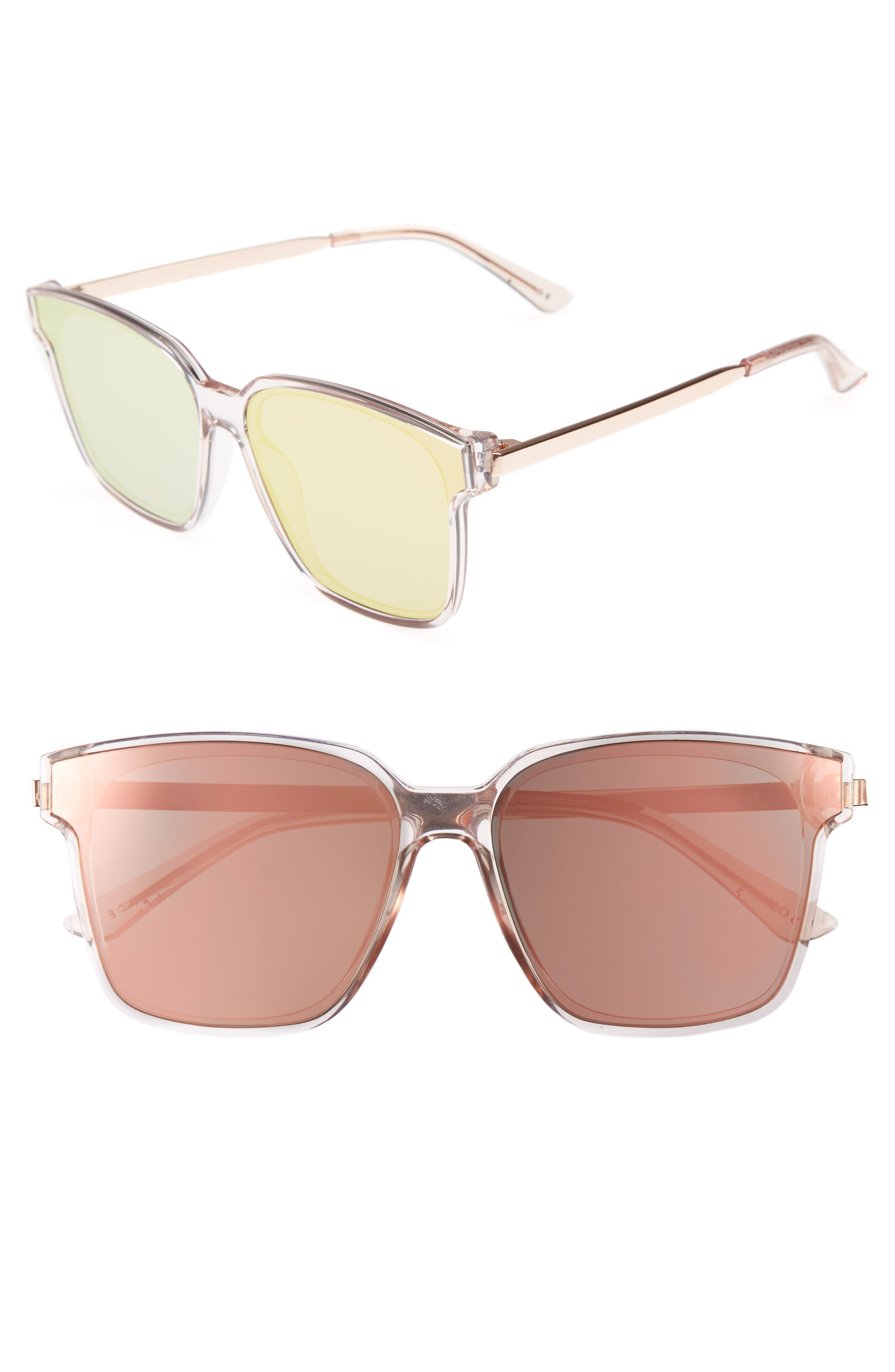 Wall 62mm Square Mirror Lens Sunglasses,                         Main,                         color, Pink