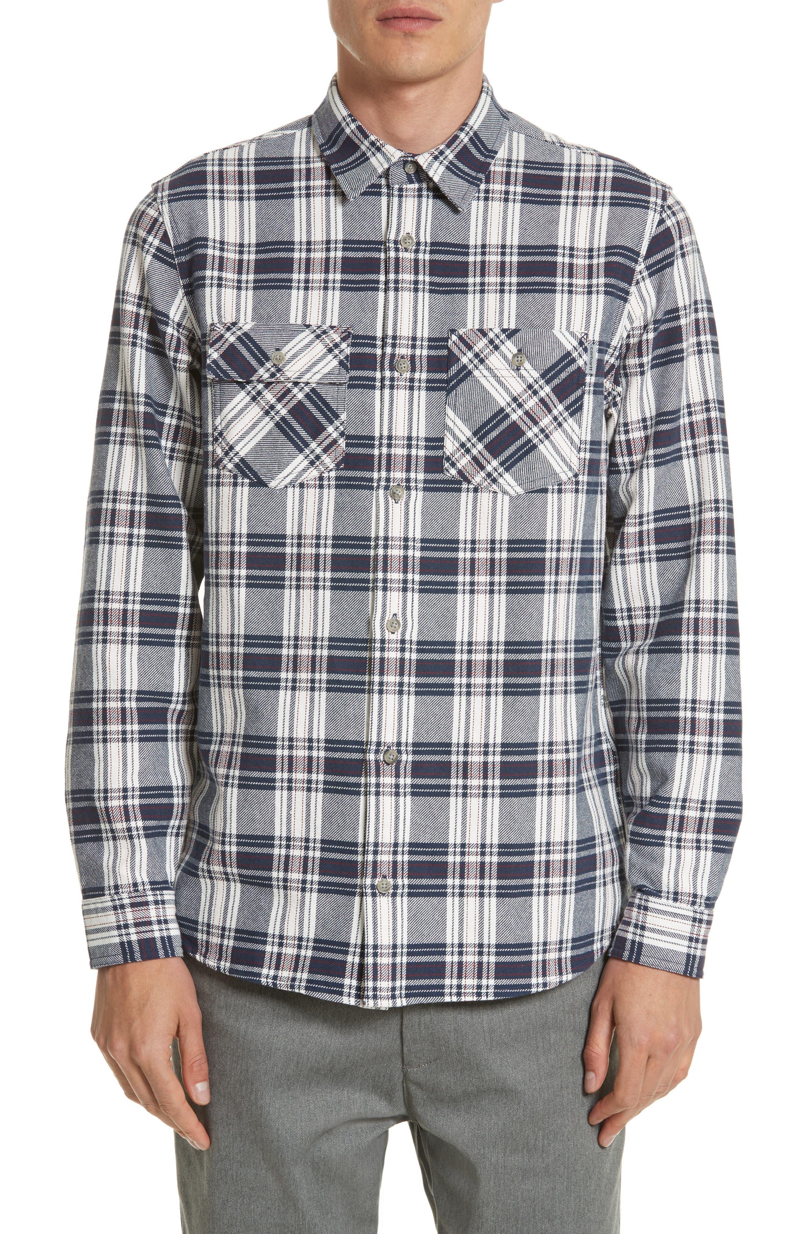 Twill Flannel Shirt,                             Main thumbnail 1, color,                             Snow/ Blue