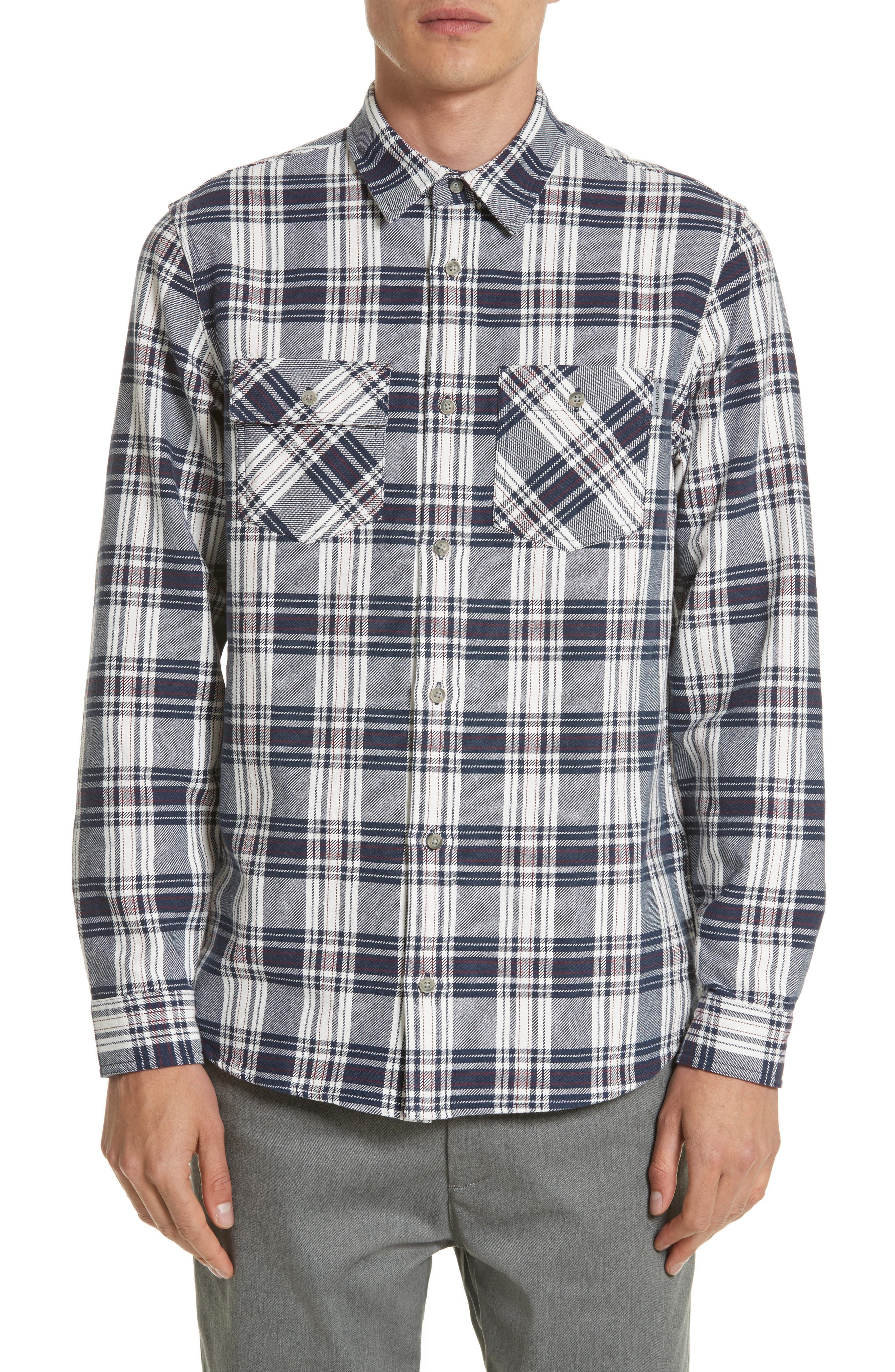 Twill Flannel Shirt,                         Main,                         color, Snow/ Blue