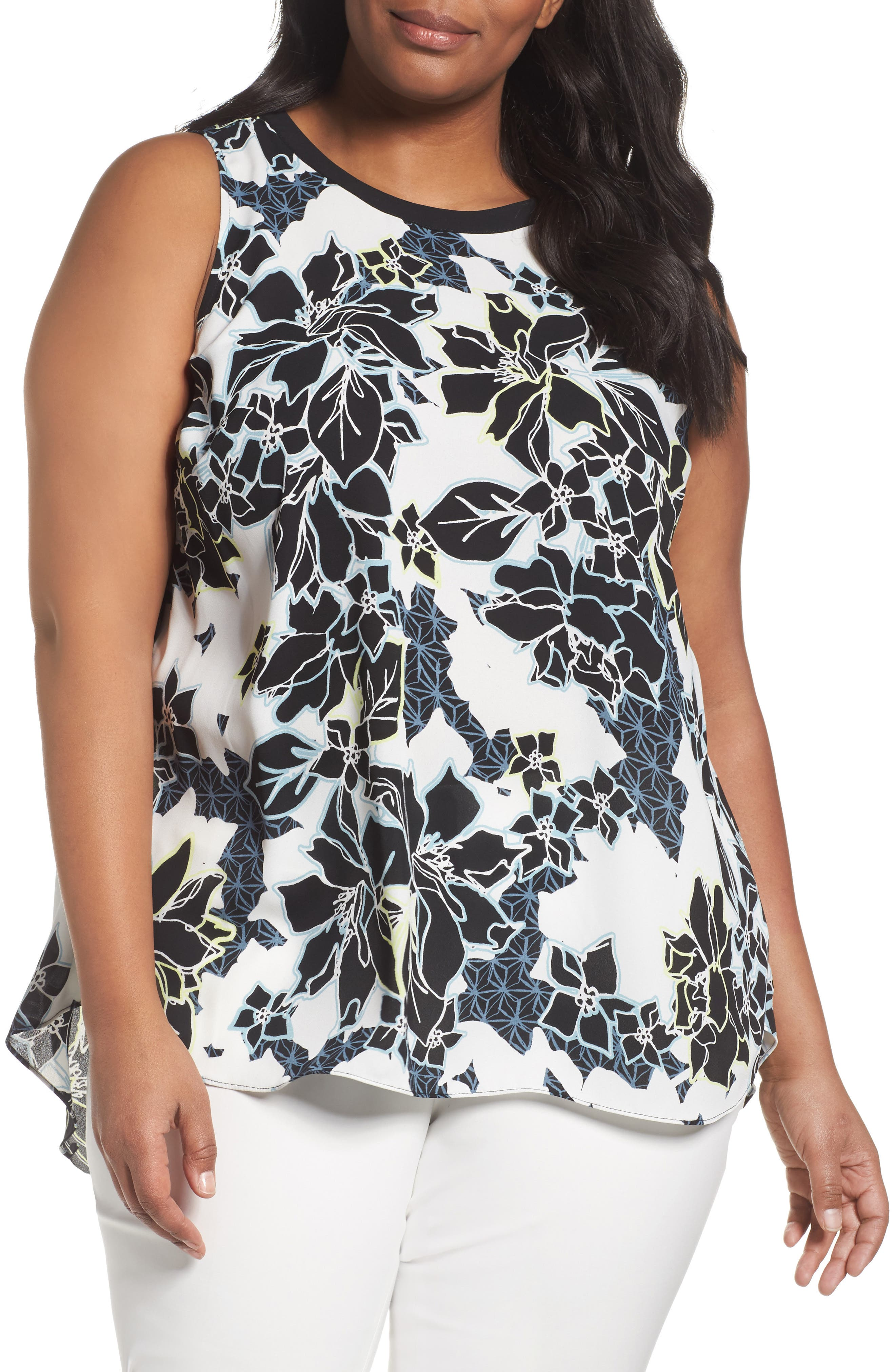 VINCE CAMUTO Floral Exhibit Tie Back Blouse