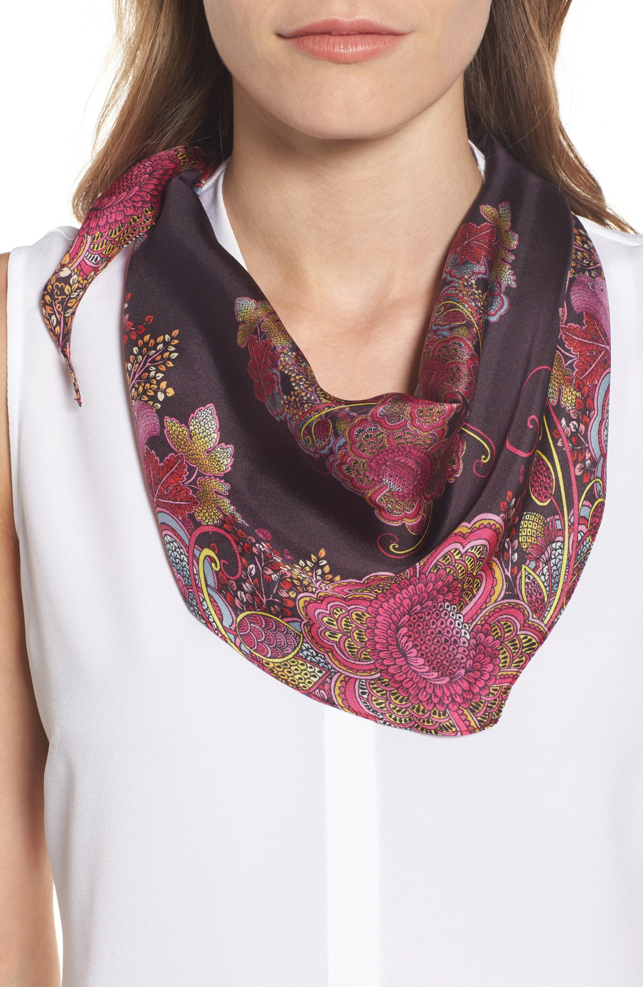 Echo Floral Diamond Silk Scarf