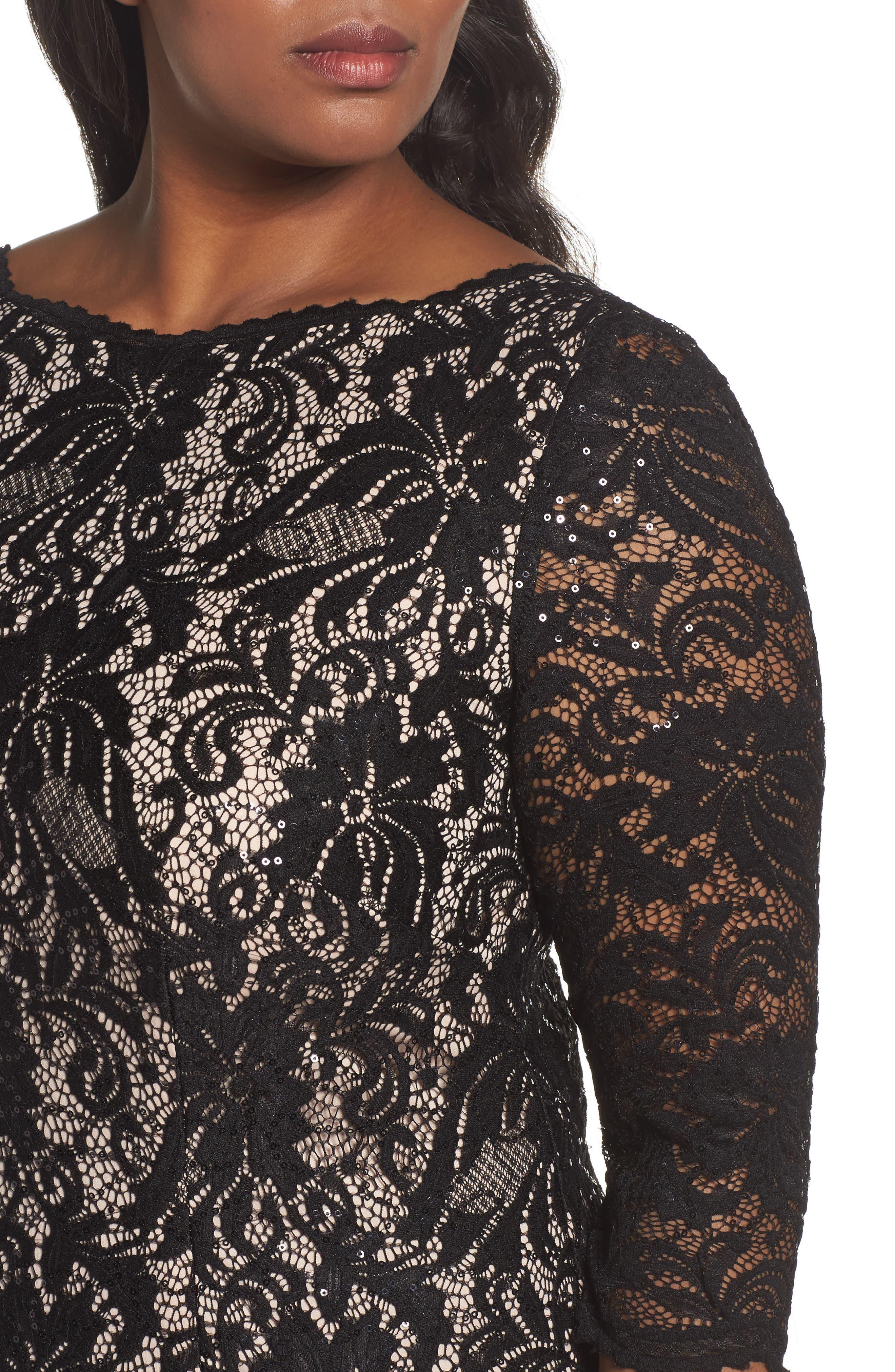 Alternate Image 4  - Alex Evenings High/Low Lace Mermaid Dress (Plus Size)