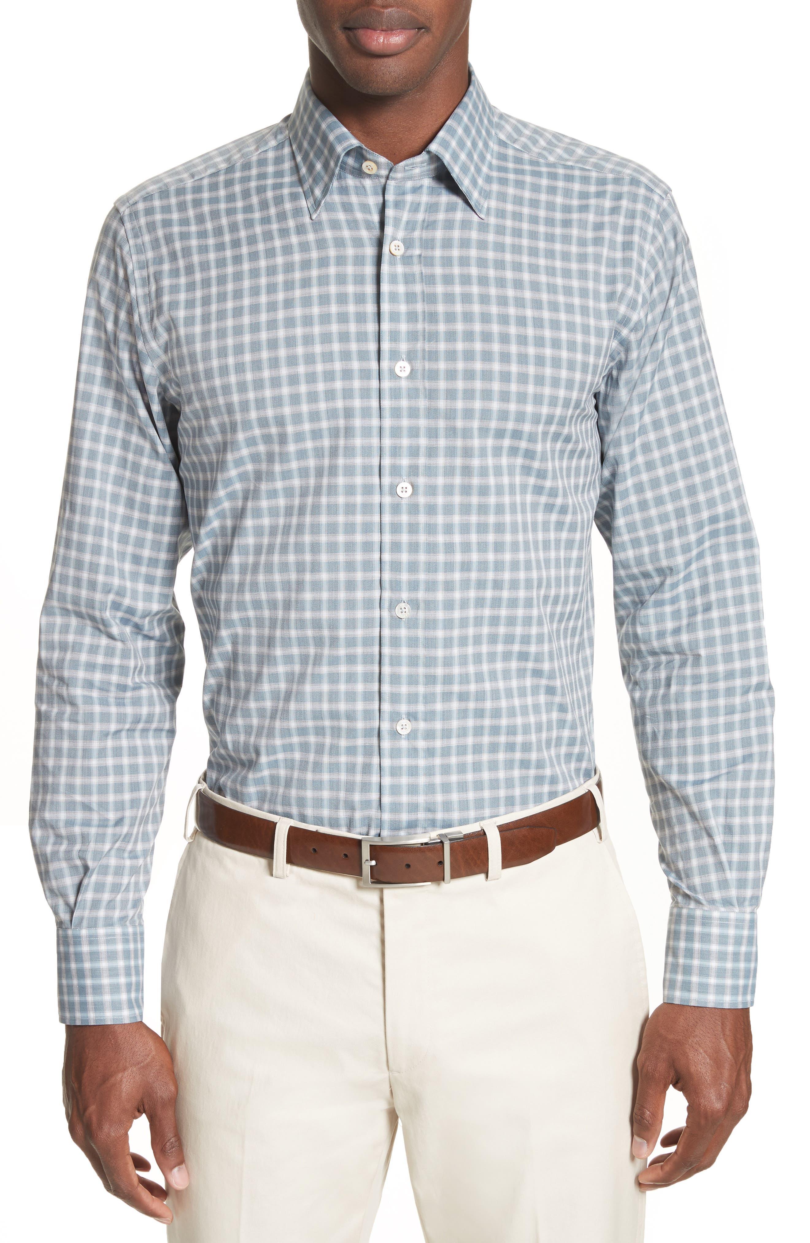 Gradient Check Sport Shirt,                         Main,                         color, Light Blue