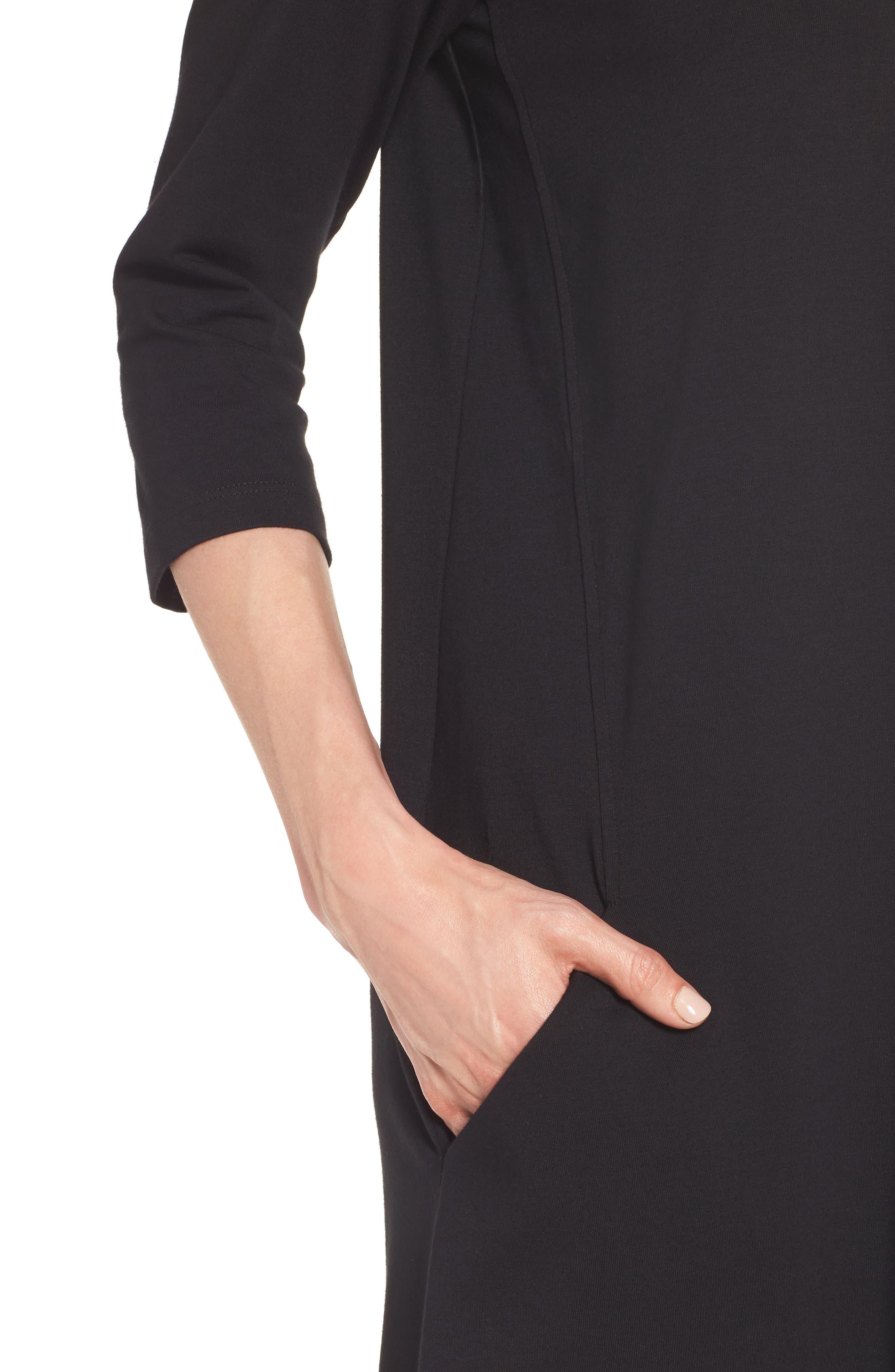 Stretch Organic Cotton Jersey Shift Dress,                             Alternate thumbnail 4, color,                             Black