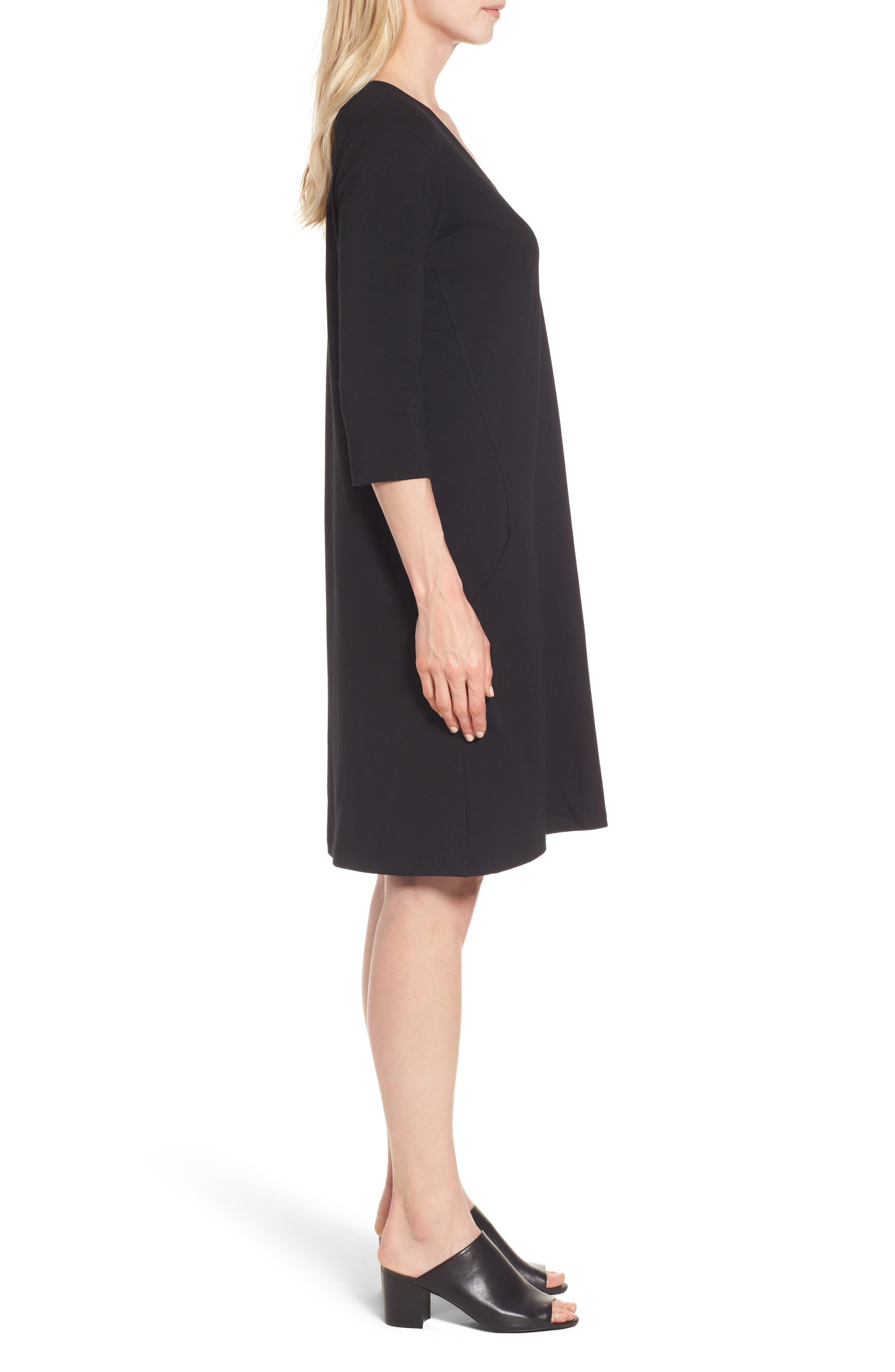 Stretch Organic Cotton Jersey Shift Dress,                             Alternate thumbnail 3, color,                             Black