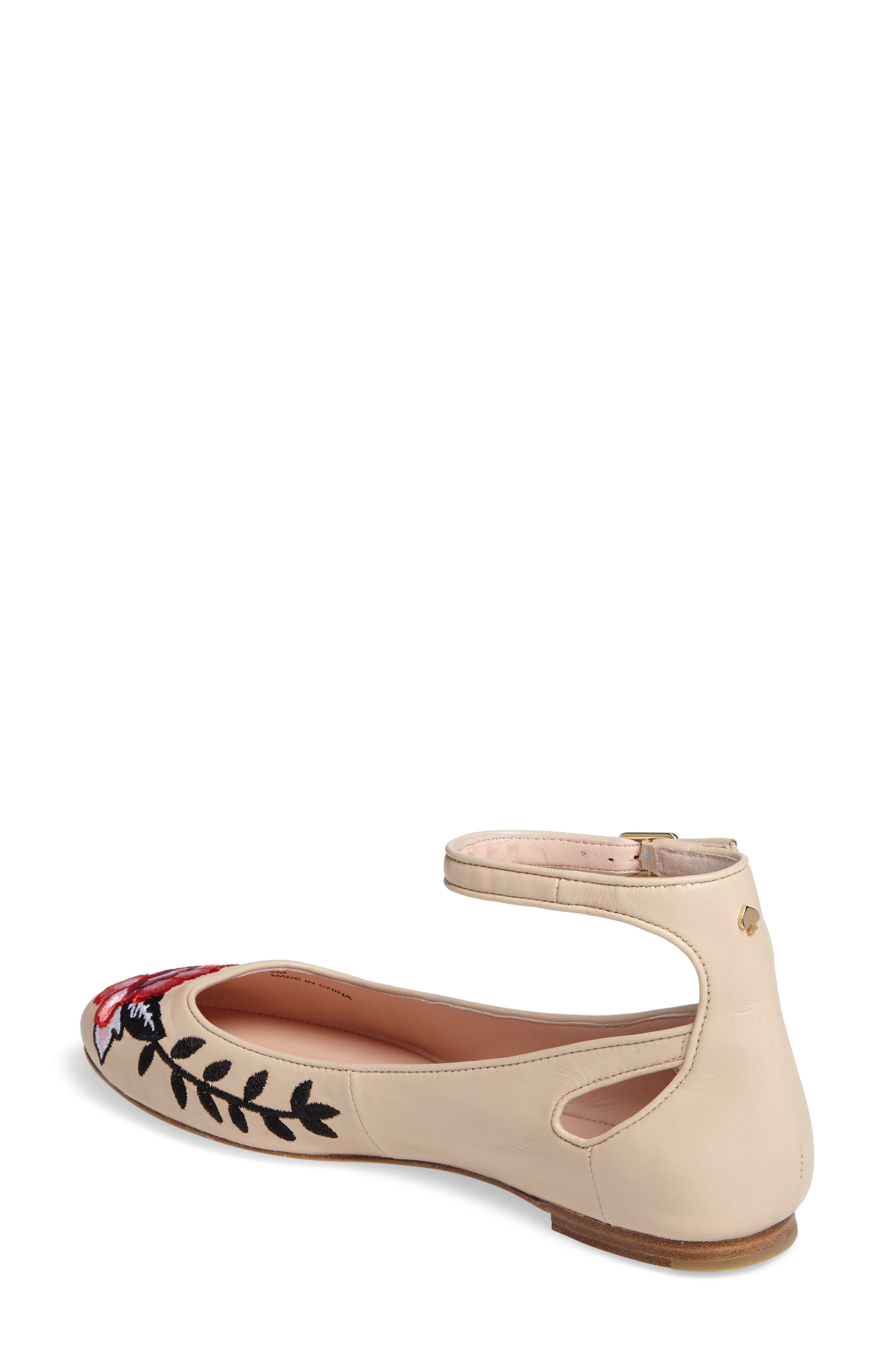 waren embroidered flat,                             Alternate thumbnail 2, color,                             Sand Nappa
