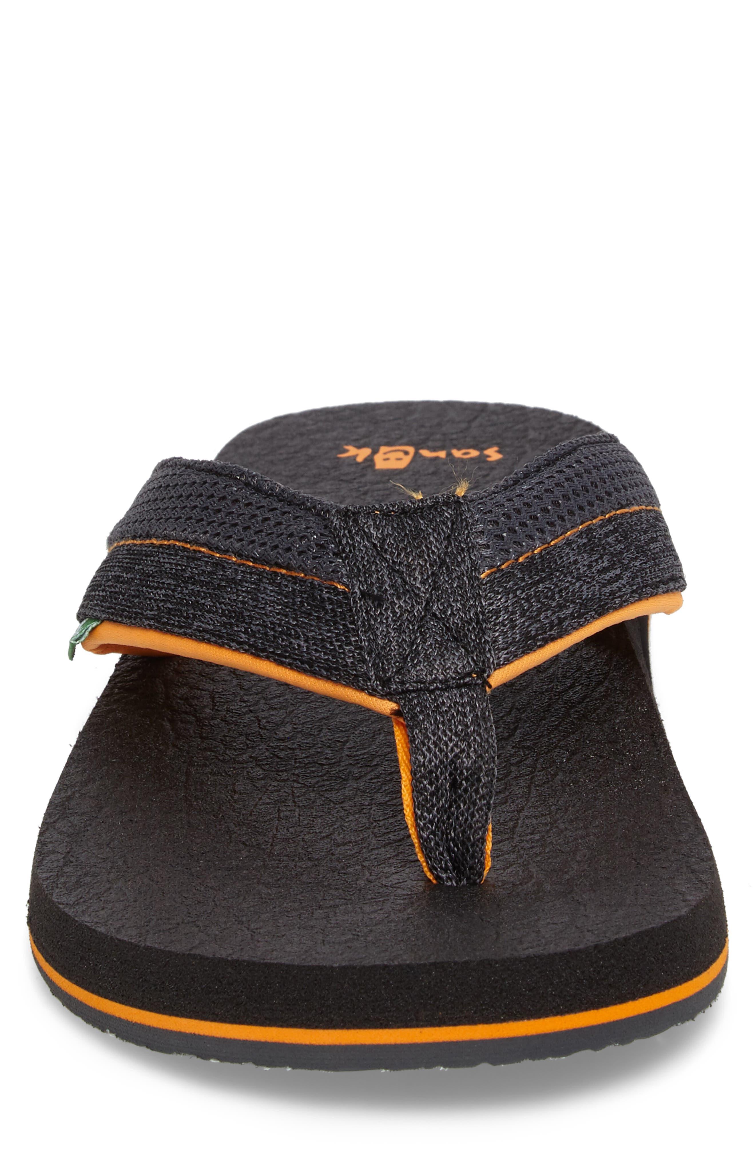 Beer Cozy Flip Flop,                             Alternate thumbnail 4, color,                             Black/ Charcoal/ Orange