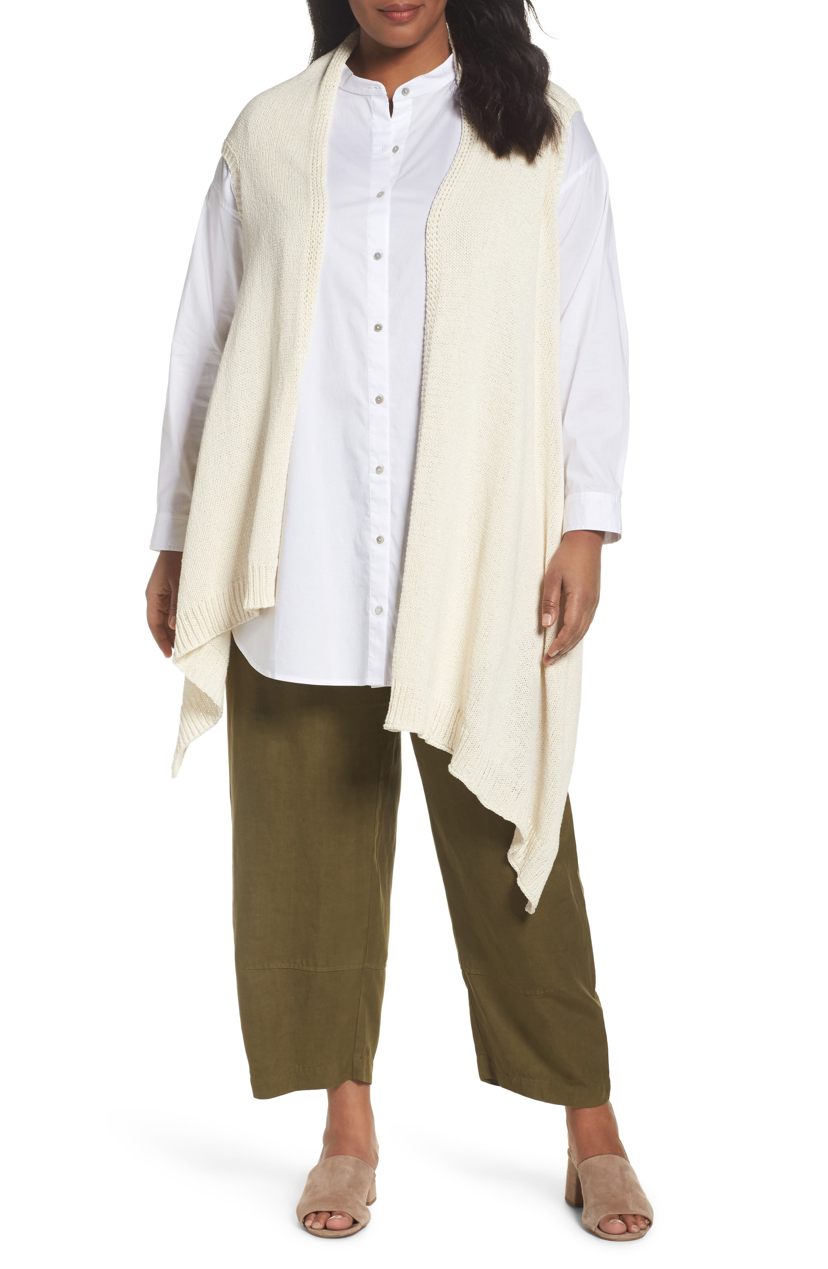 Eileen Fisher Cotton Blend Knit Asymmetrical Wrap (Plus Size)