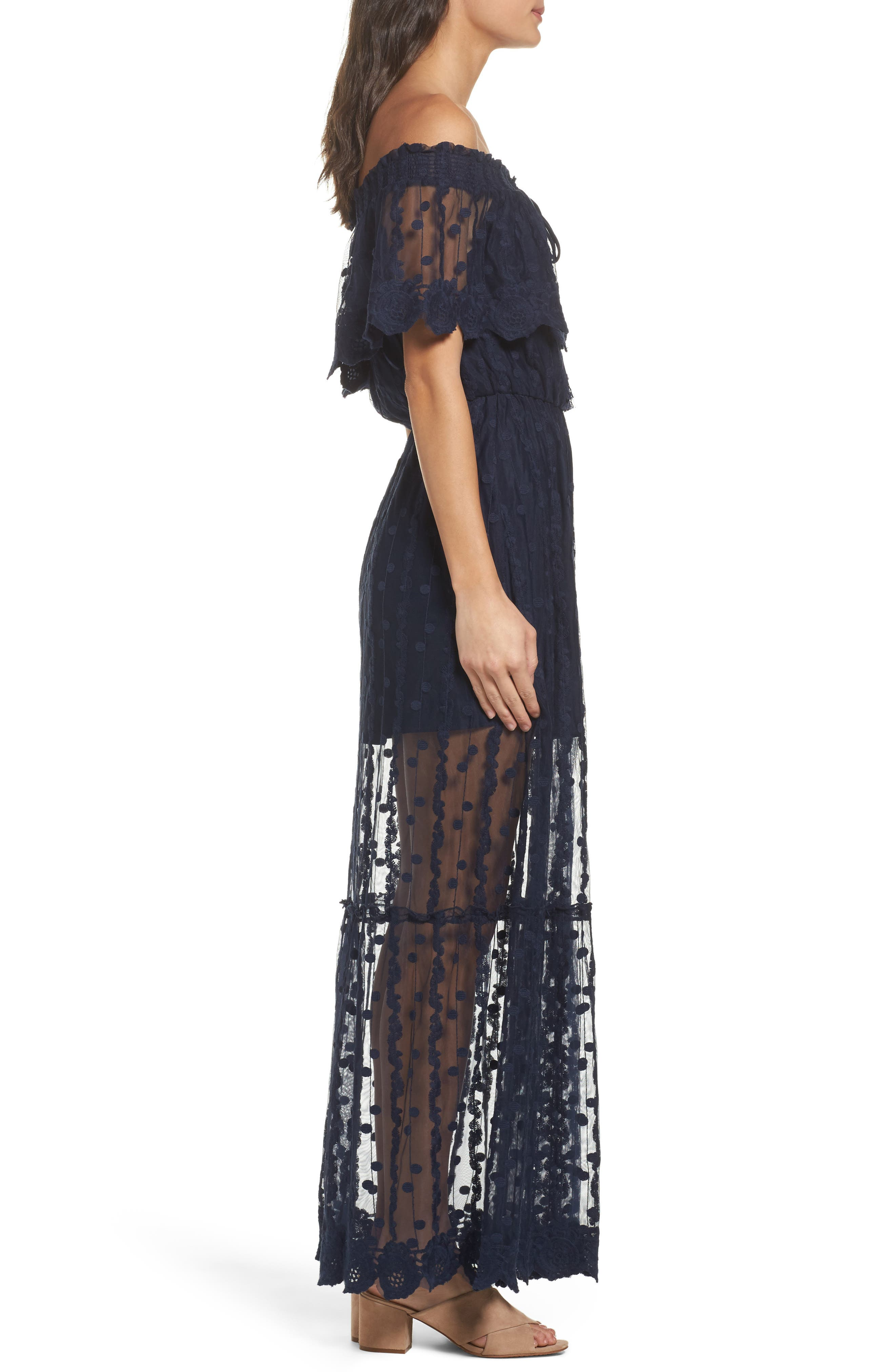 Alternate Image 3  - Adelyn Rae Josephine Off the Shoulder Lace Maxi Dress