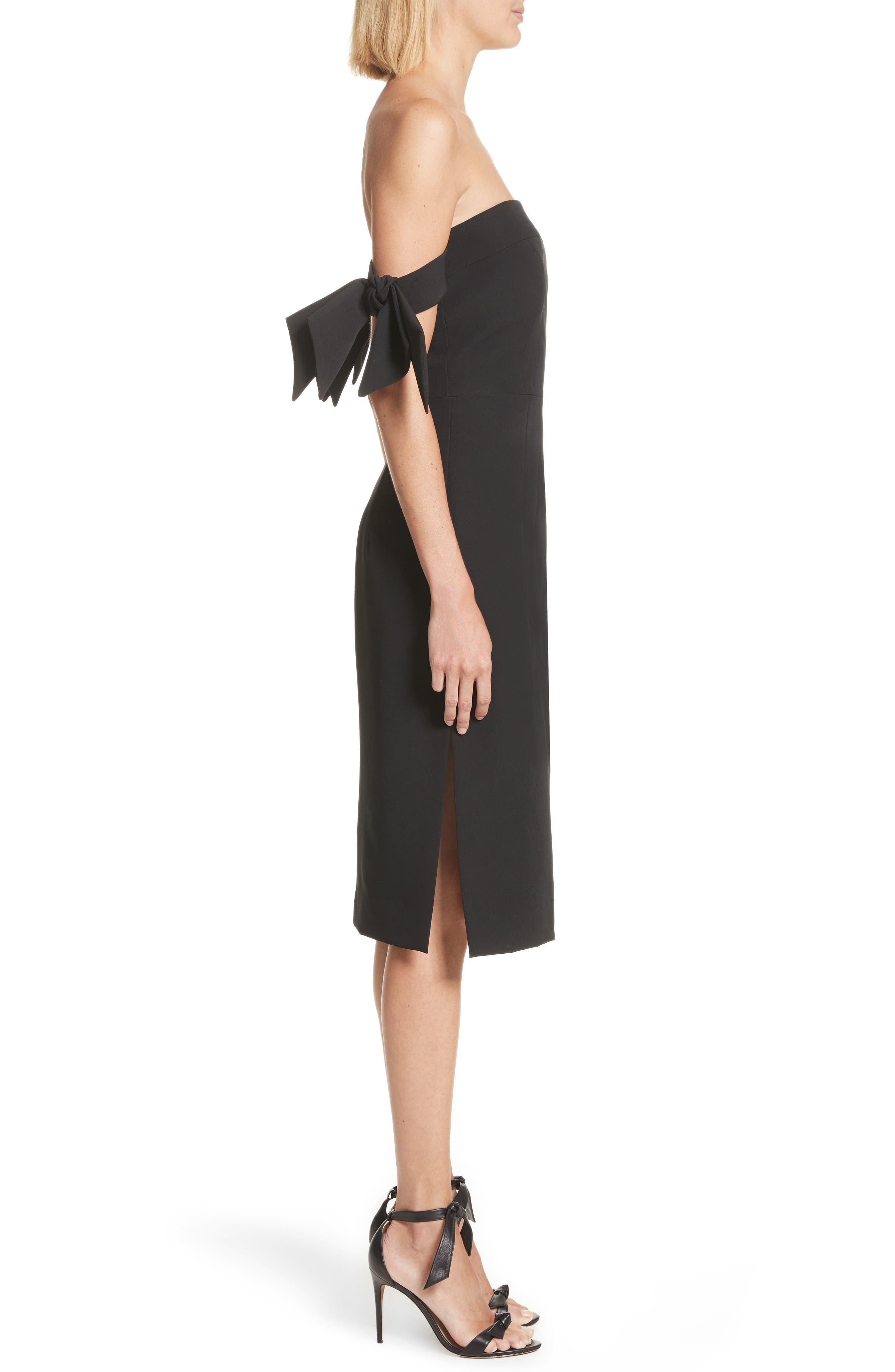 Brit Off the Shoulder Stretch Cady Sheath Dress,                             Alternate thumbnail 3, color,                             Black