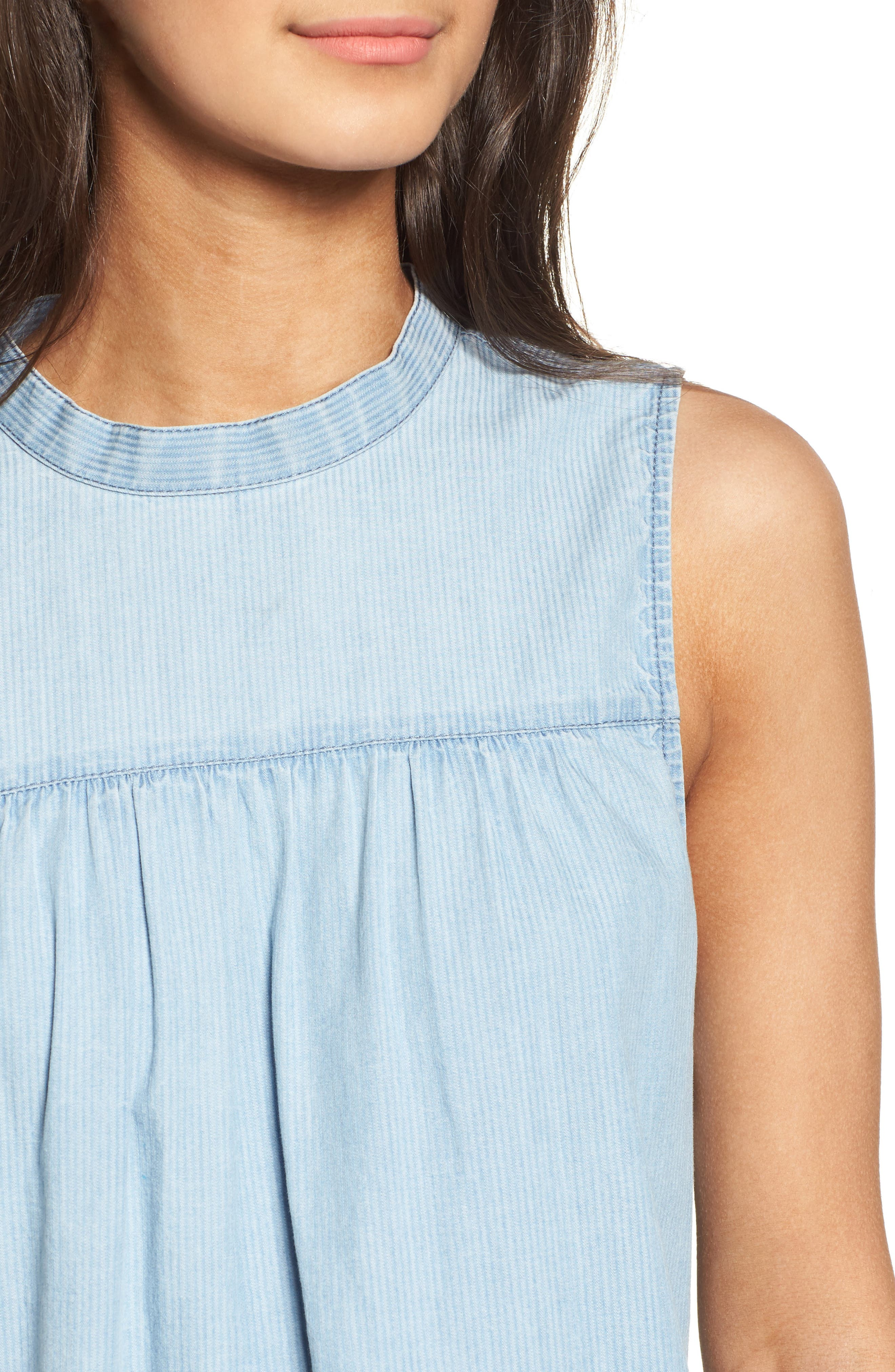 Ruffle Chambray Top,                             Alternate thumbnail 4, color,                             Blue Cashmere