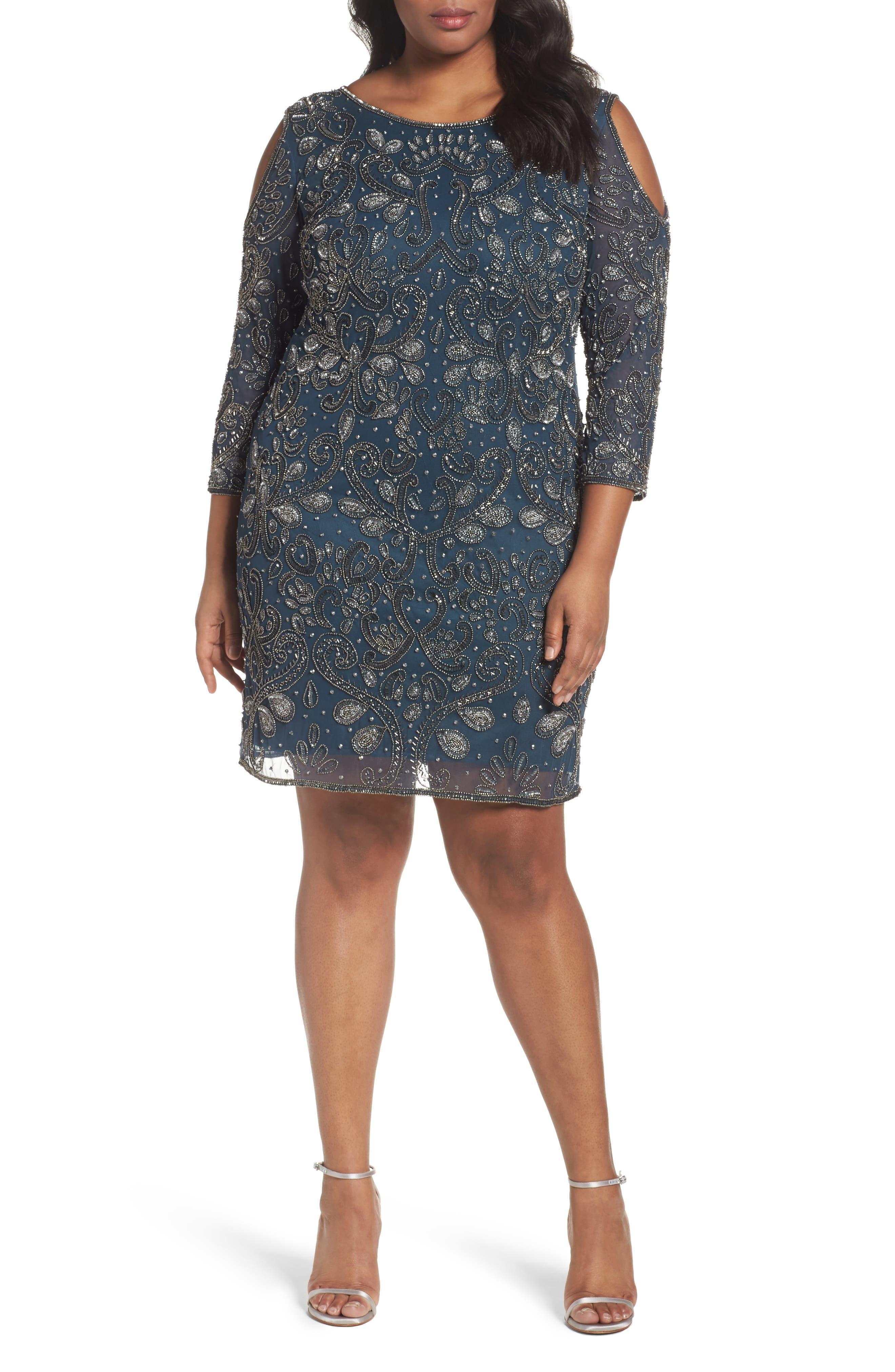 Main Image - Pisarro Nights Embellished Cold Shoulder Dress (Plus Size)