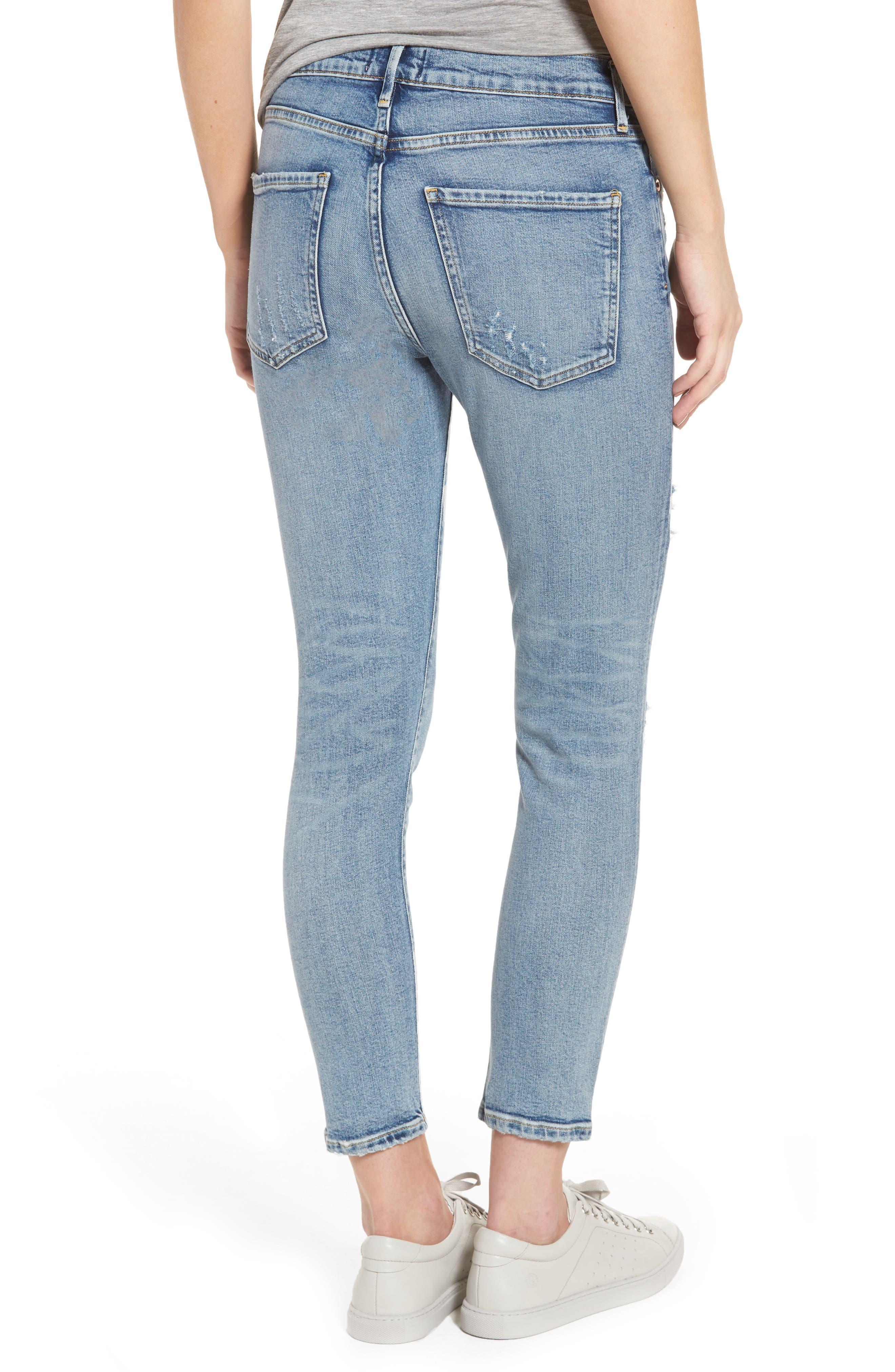 Alternate Image 2  - AGOLDE Sophie Distressed High Waist Skinny Jeans (Outsider)