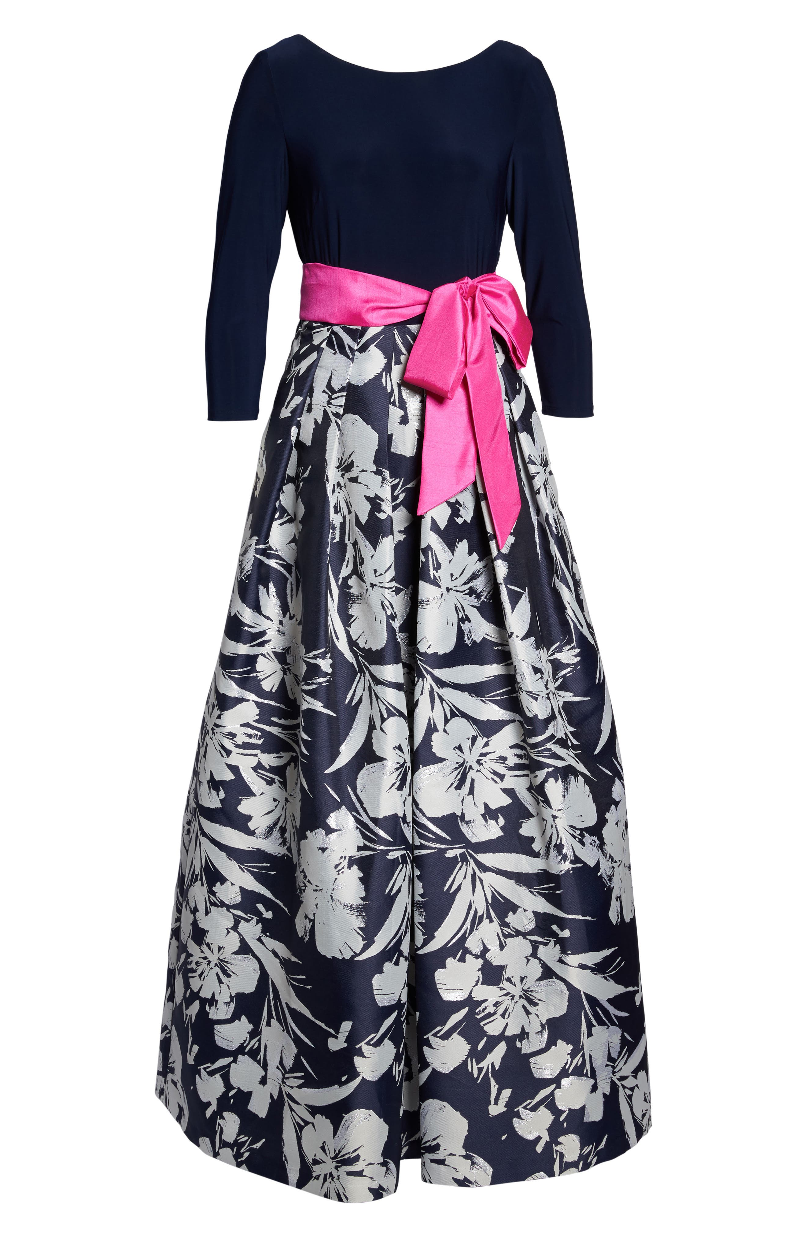 Floral Jacquard Gown,                             Alternate thumbnail 6, color,                             Navy