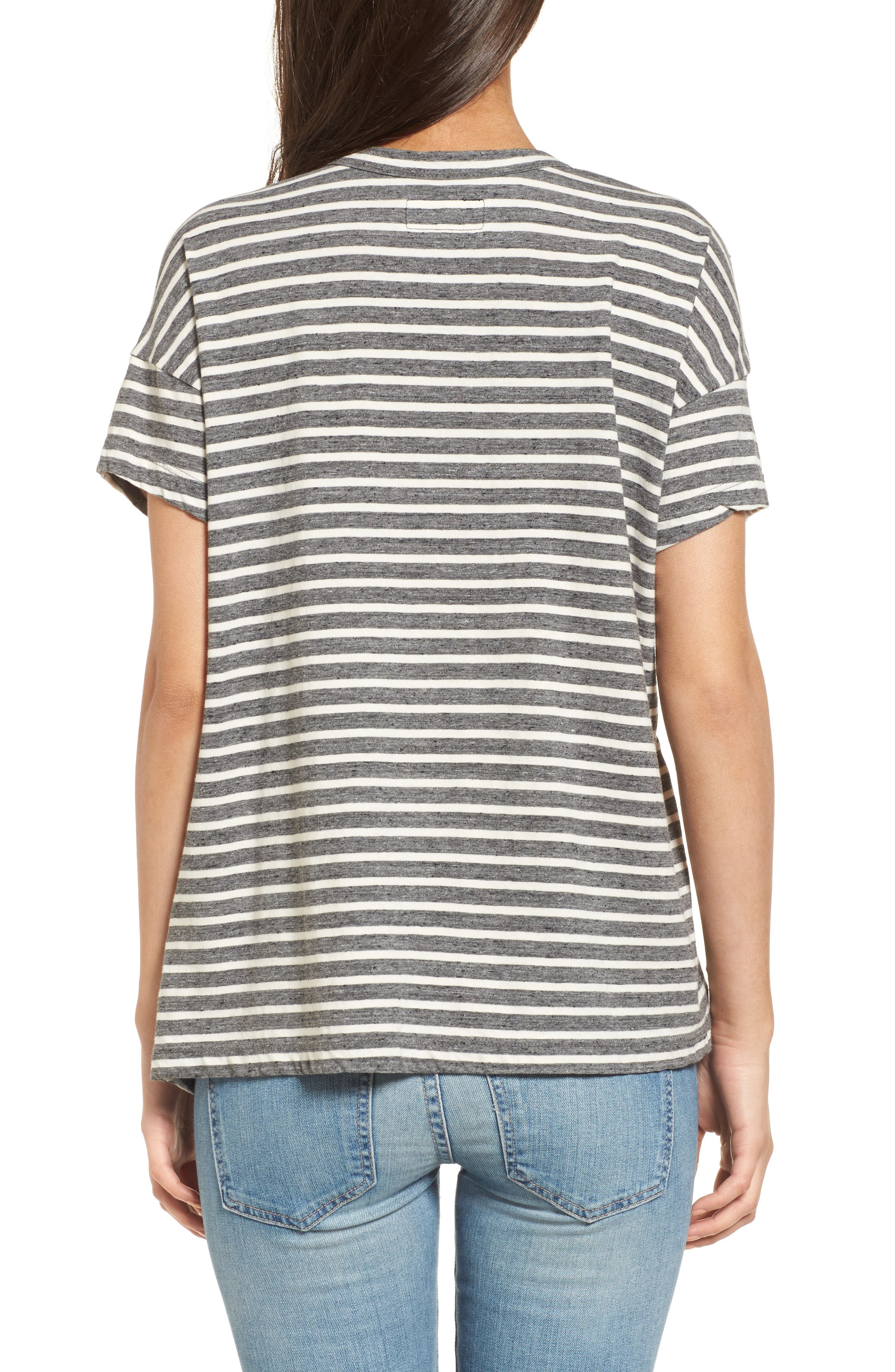 Stripe Slouchy Tee,                             Alternate thumbnail 2, color,                             Charcoal Anchor Stripe